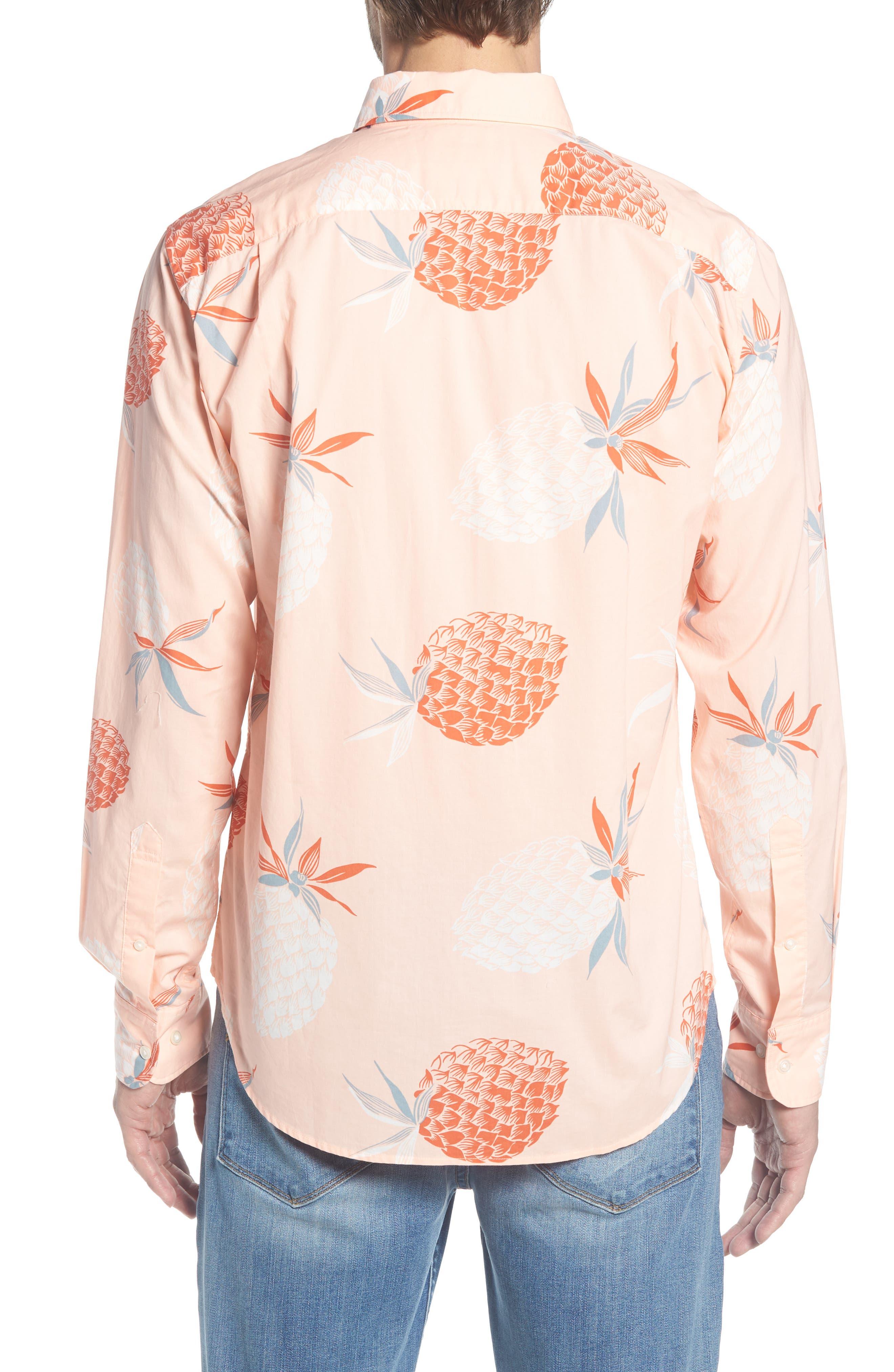 Summerweight Slim Fit Print Sport Shirt,                             Alternate thumbnail 3, color,                             Pineapple Party - Peach Melba
