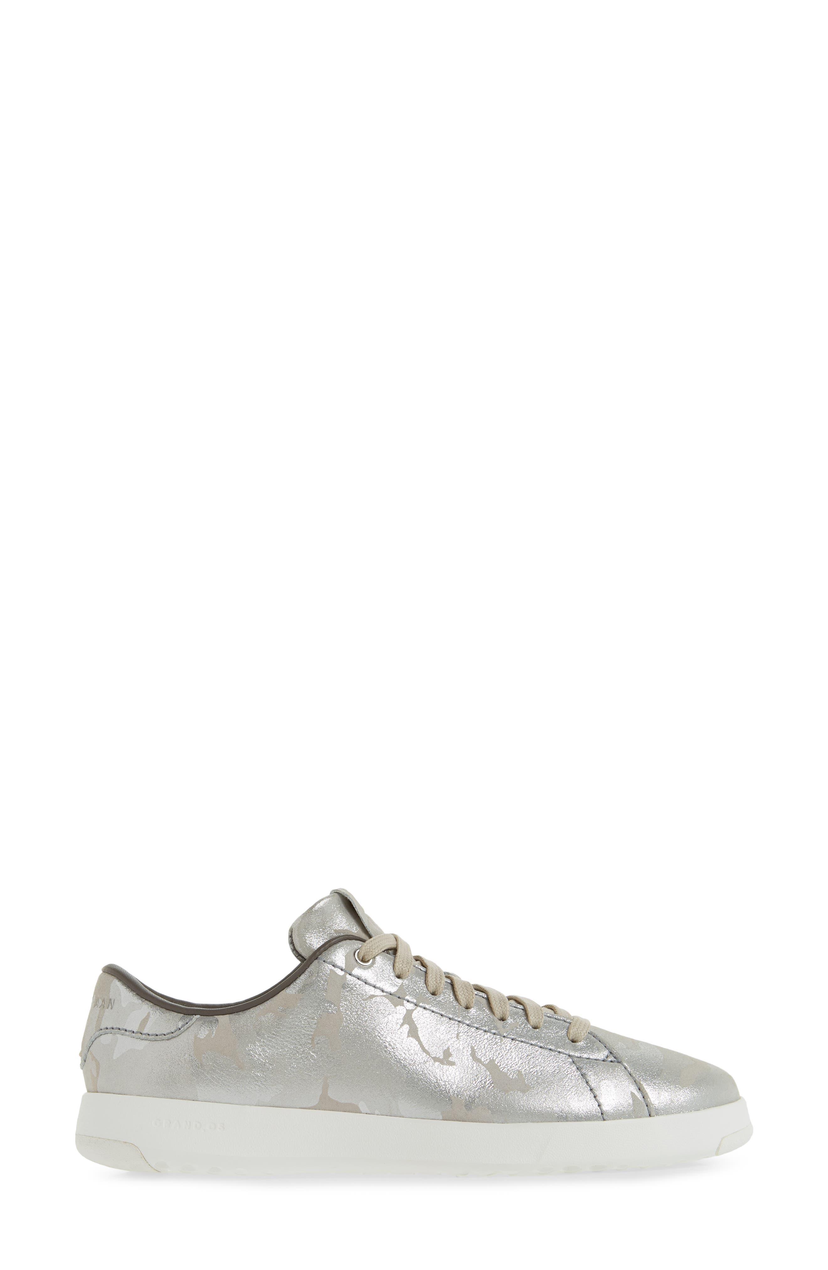 GrandPro Tennis Shoe,                             Alternate thumbnail 3, color,                             Dove Metallic Camo Leather