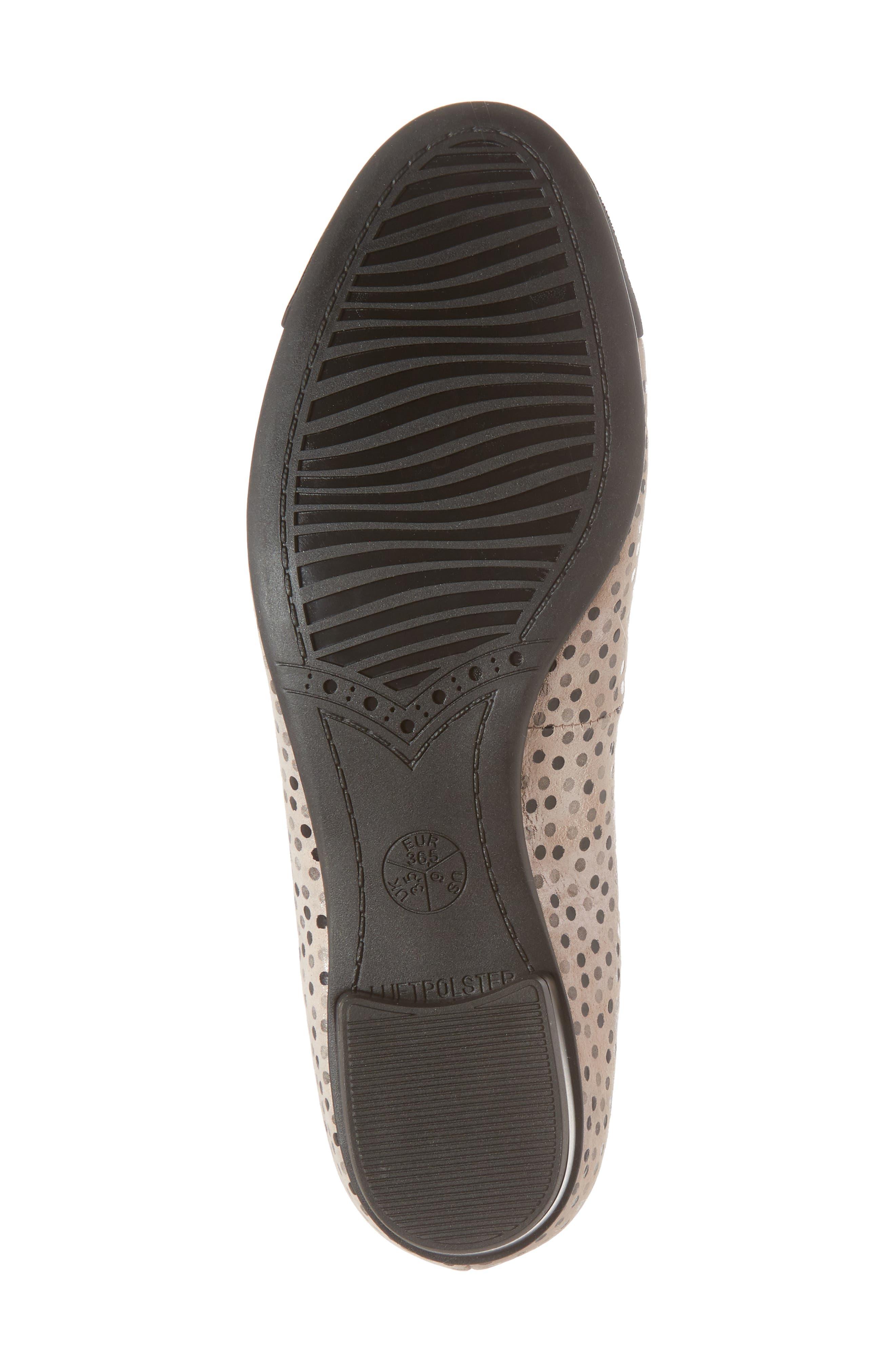 'Betty' Cap Toe Flat,                             Alternate thumbnail 6, color,                             Black Polka Dot Leather