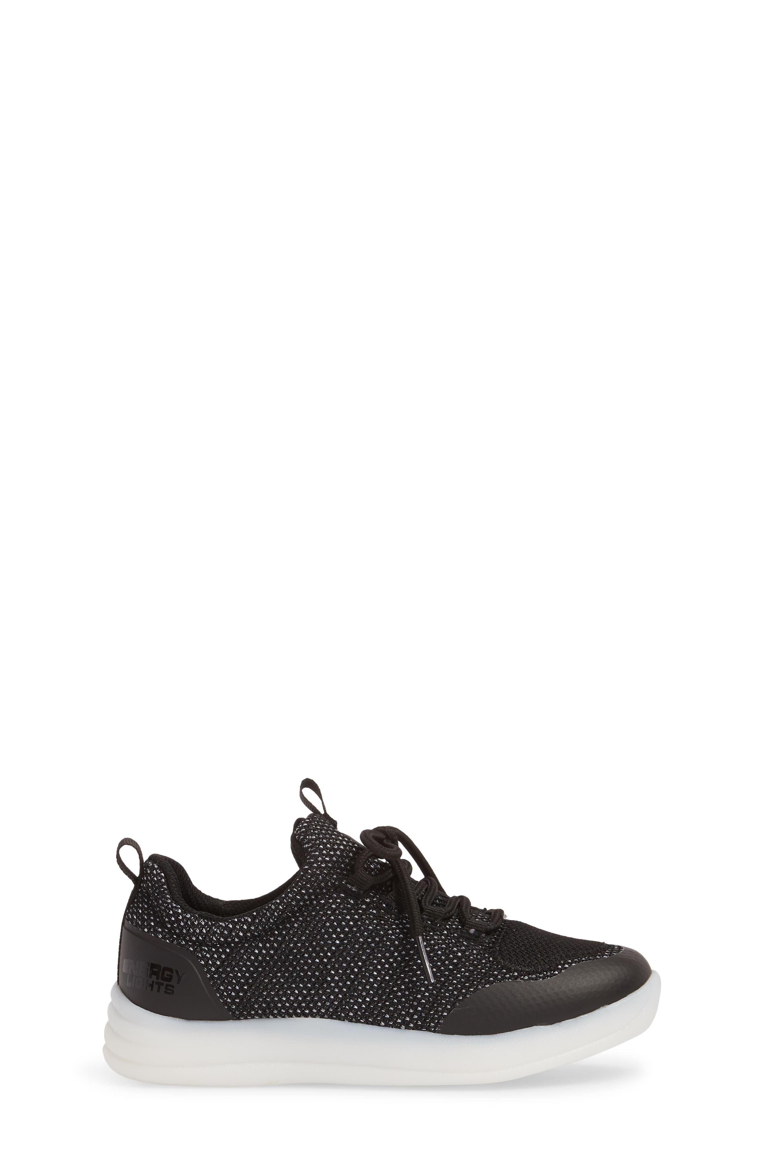 Energy Lights Street Sneaker,                             Alternate thumbnail 3, color,                             Black