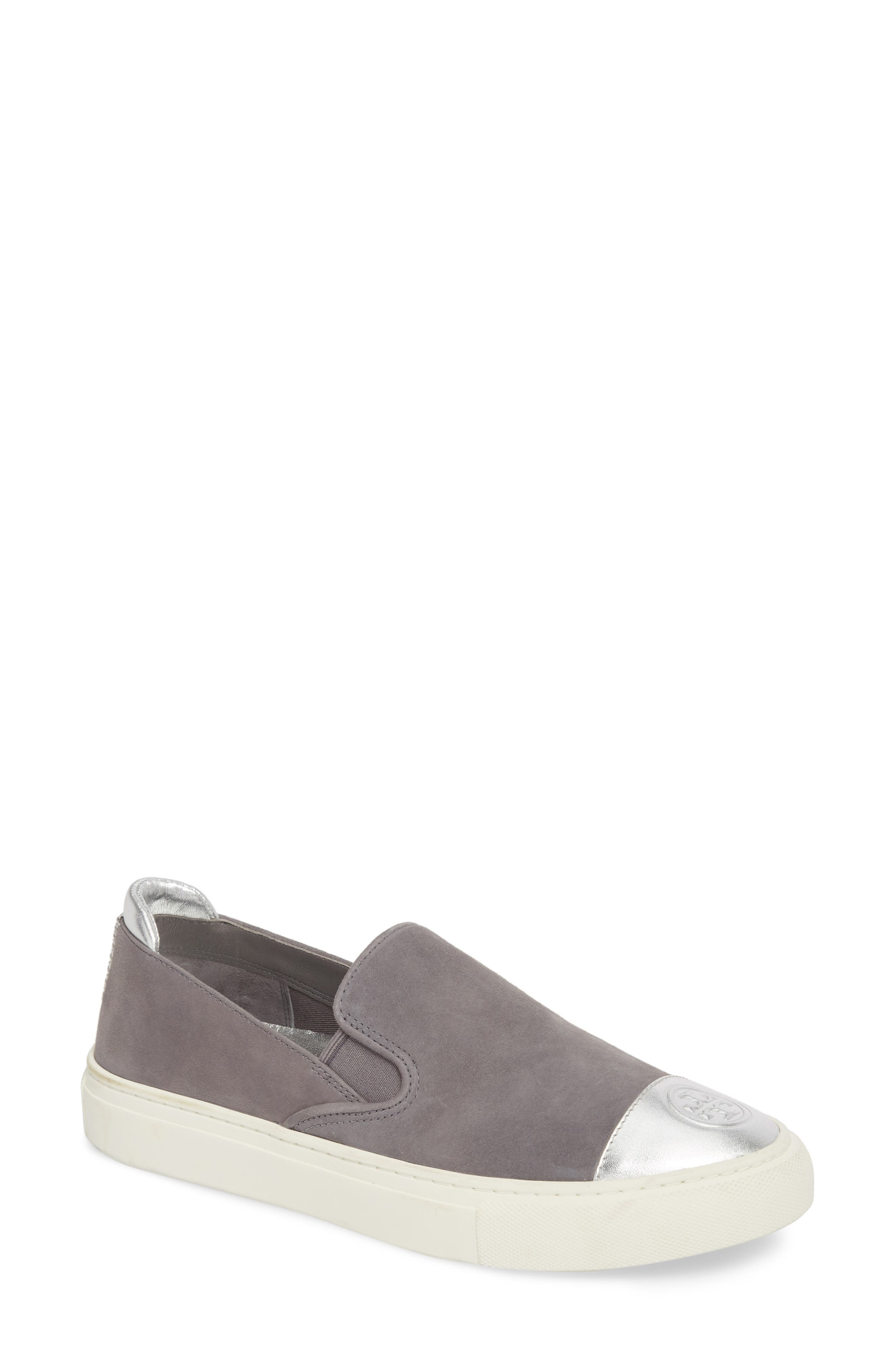 Colorblock Slip-On Sneaker,                             Main thumbnail 1, color,                             Carbon/ Silver