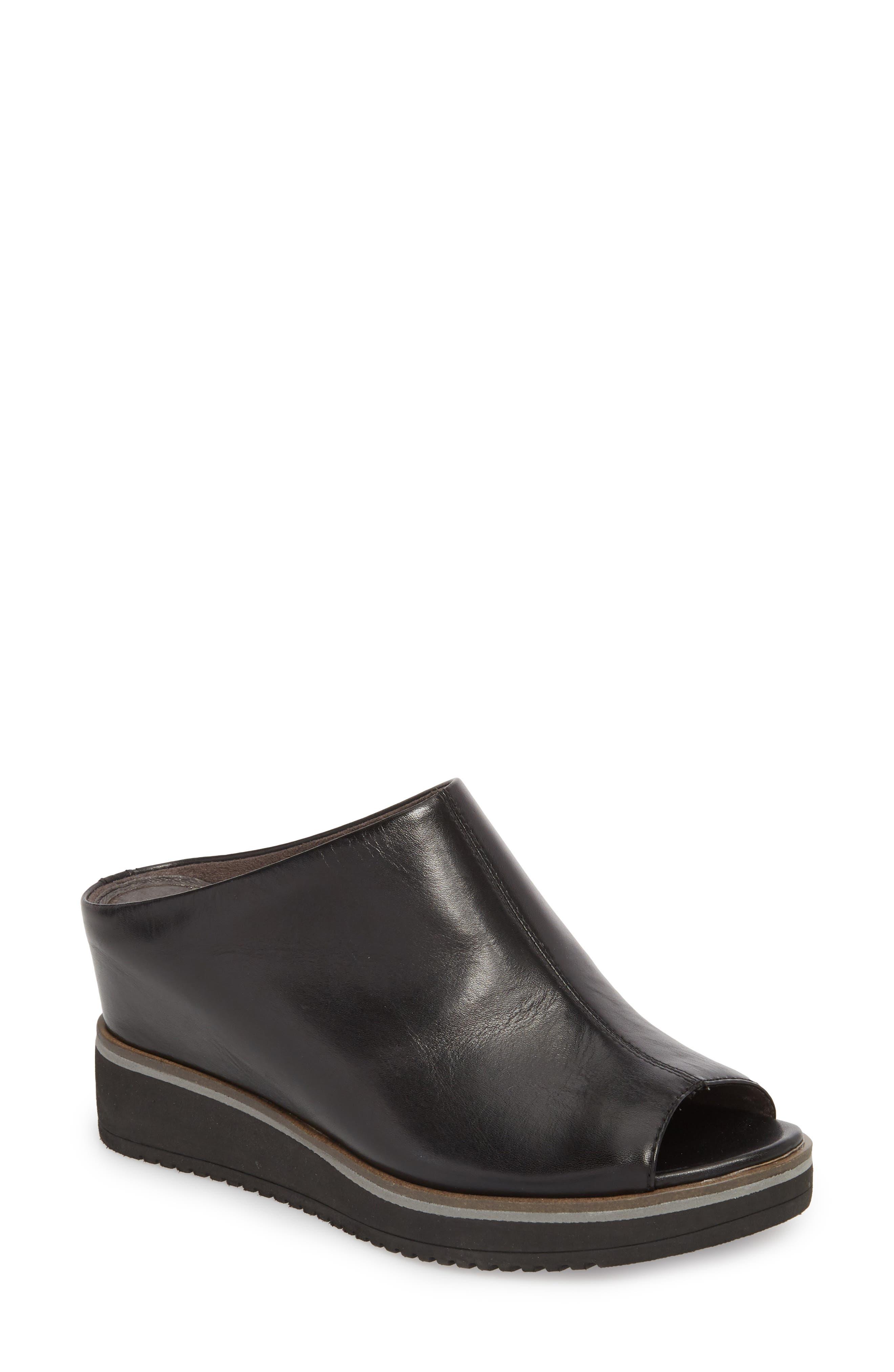 Alis Wedge Sandal,                             Main thumbnail 1, color,                             Black/ Black Leather