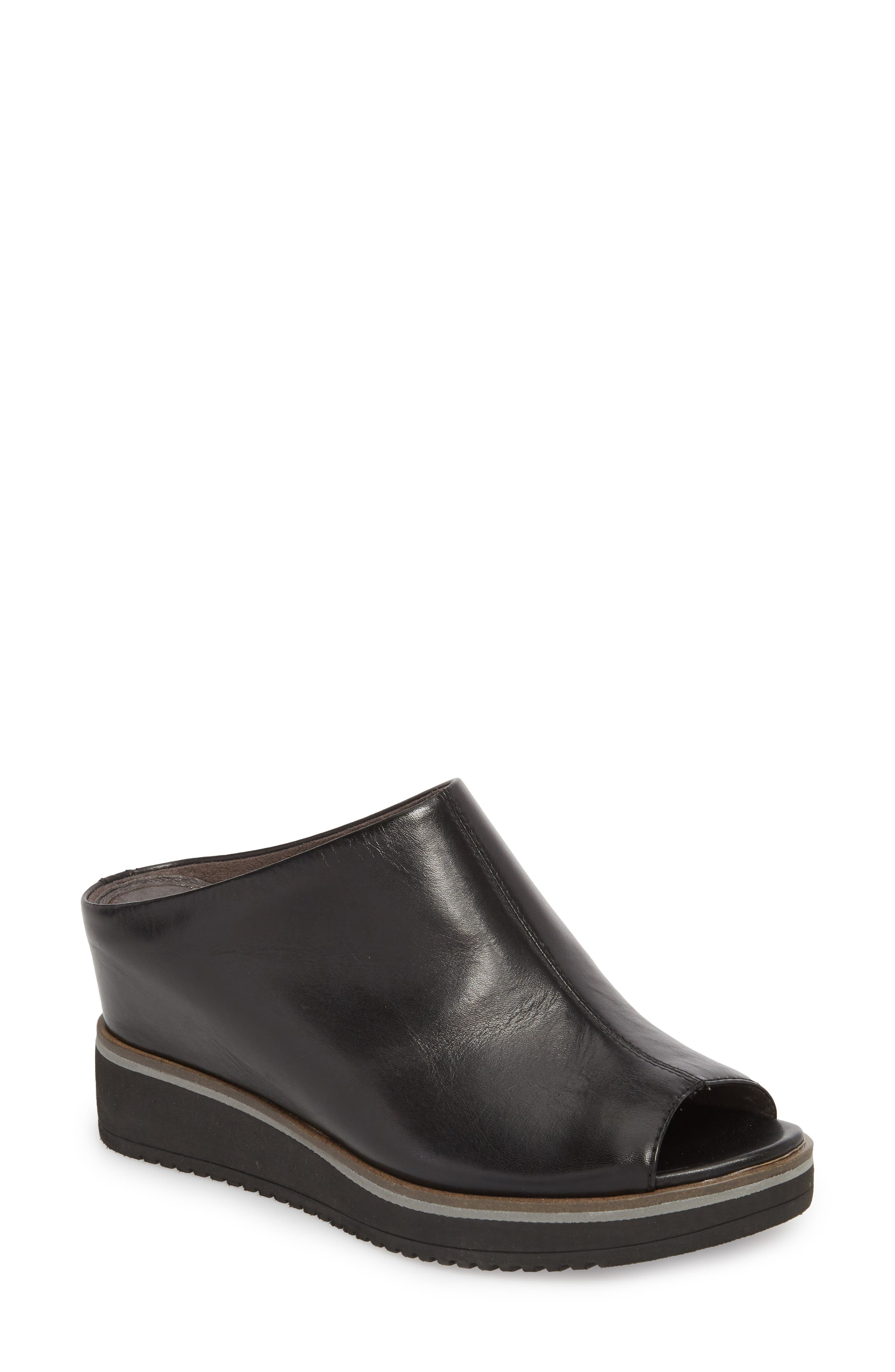 Alis Wedge Sandal,                         Main,                         color, Black/ Black Leather