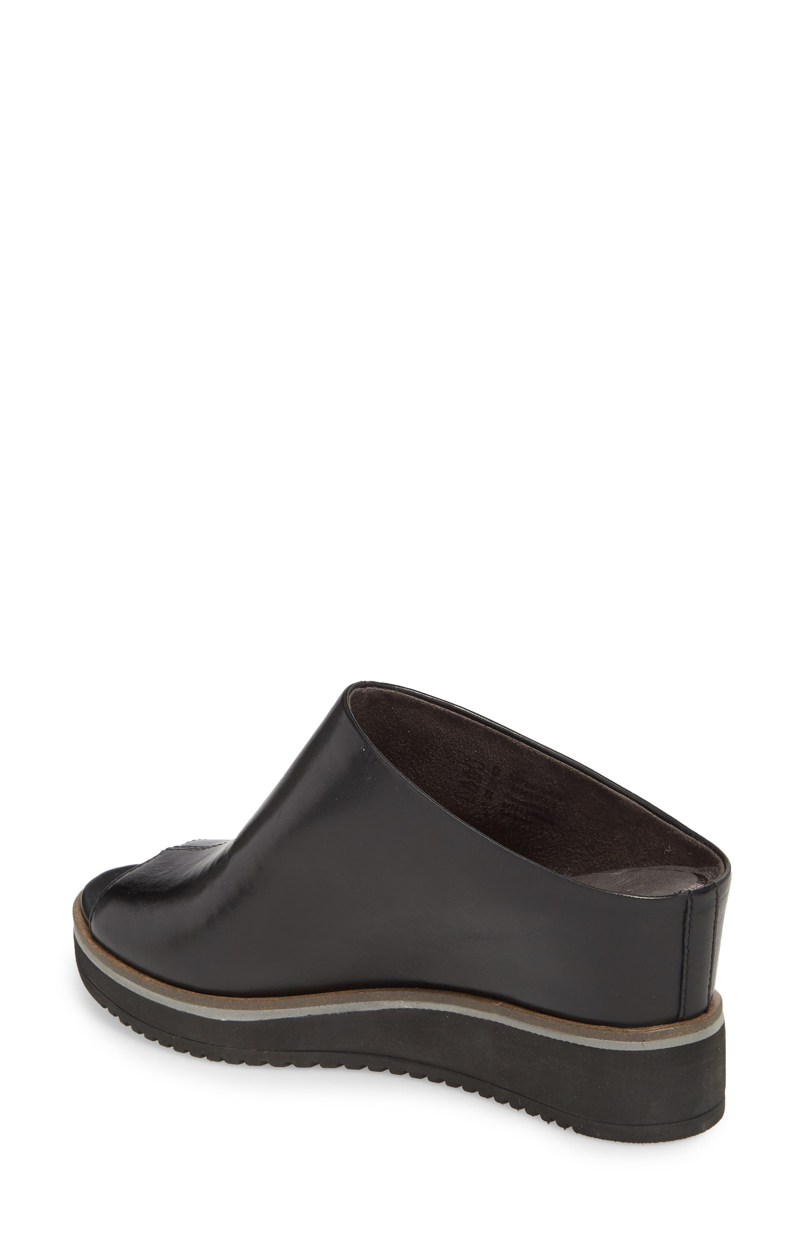 Alis Wedge Sandal,                             Alternate thumbnail 2, color,                             Black/ Black Leather