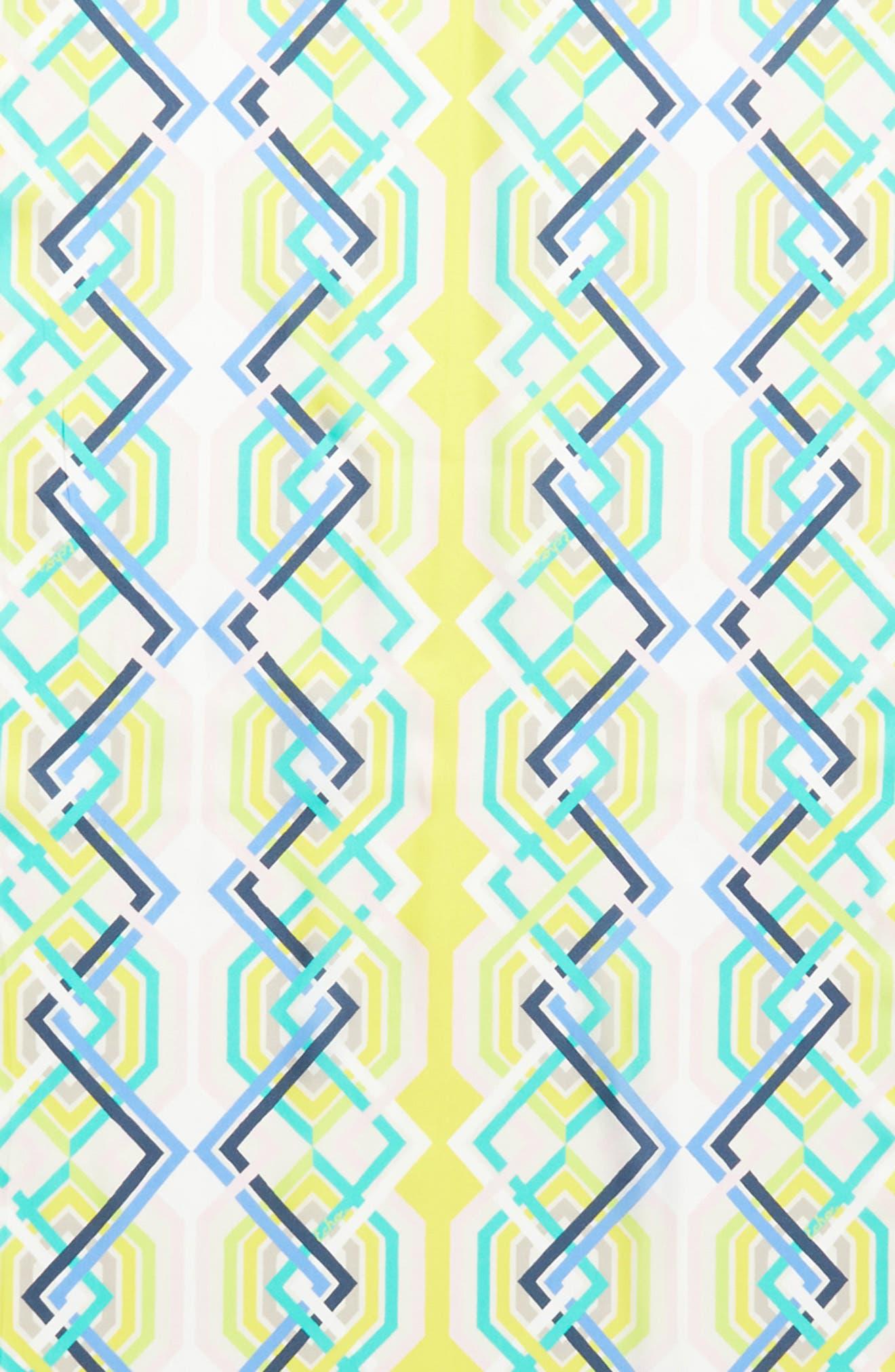 Geo Lattice Silk Scarf,                             Alternate thumbnail 4, color,                             Sunburst