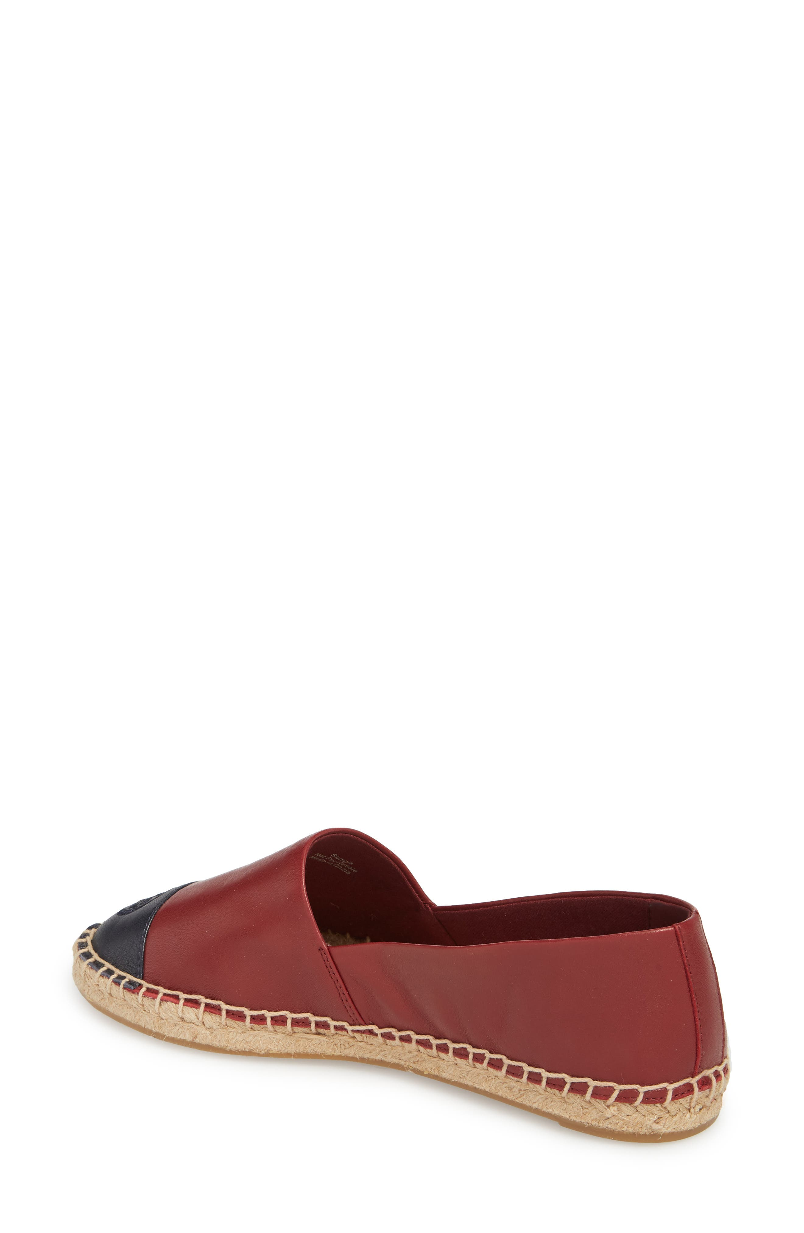 Colorblock Espadrille Flat,                             Alternate thumbnail 2, color,                             Tuscan Wine/ Tory Navy