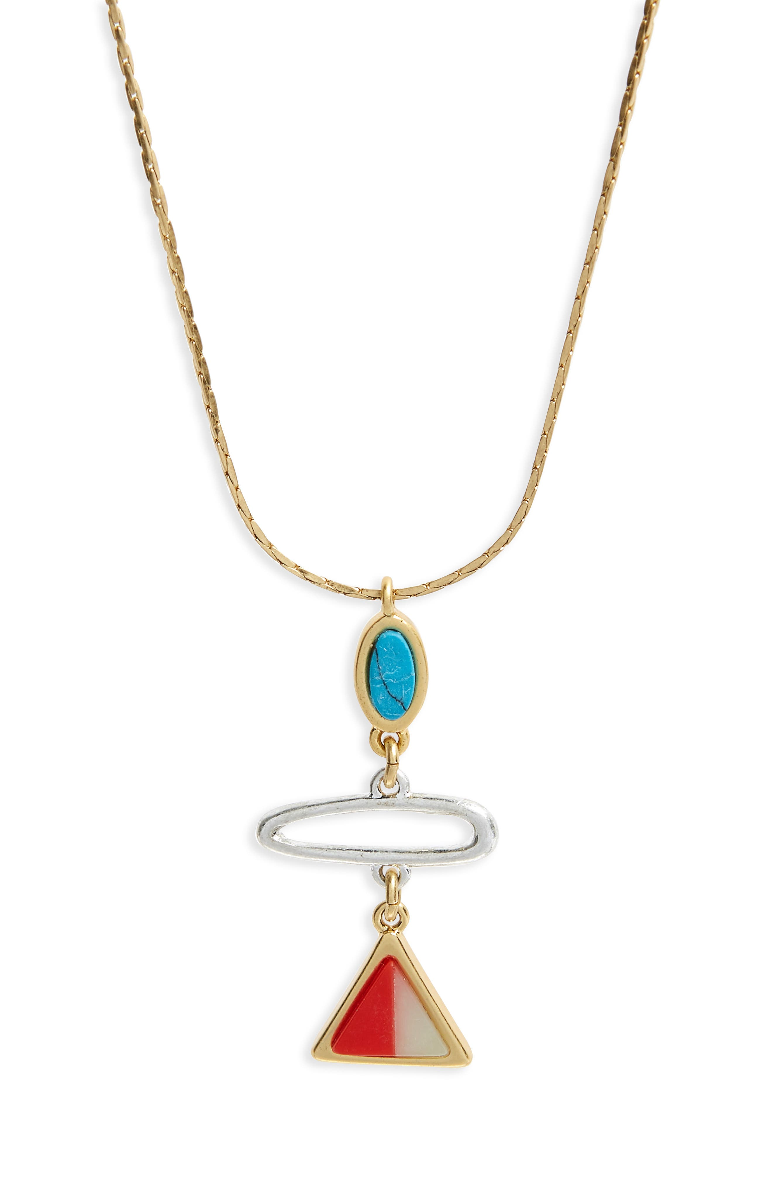 Stone Inlay Pendant Necklace,                         Main,                         color, Vintage Gold