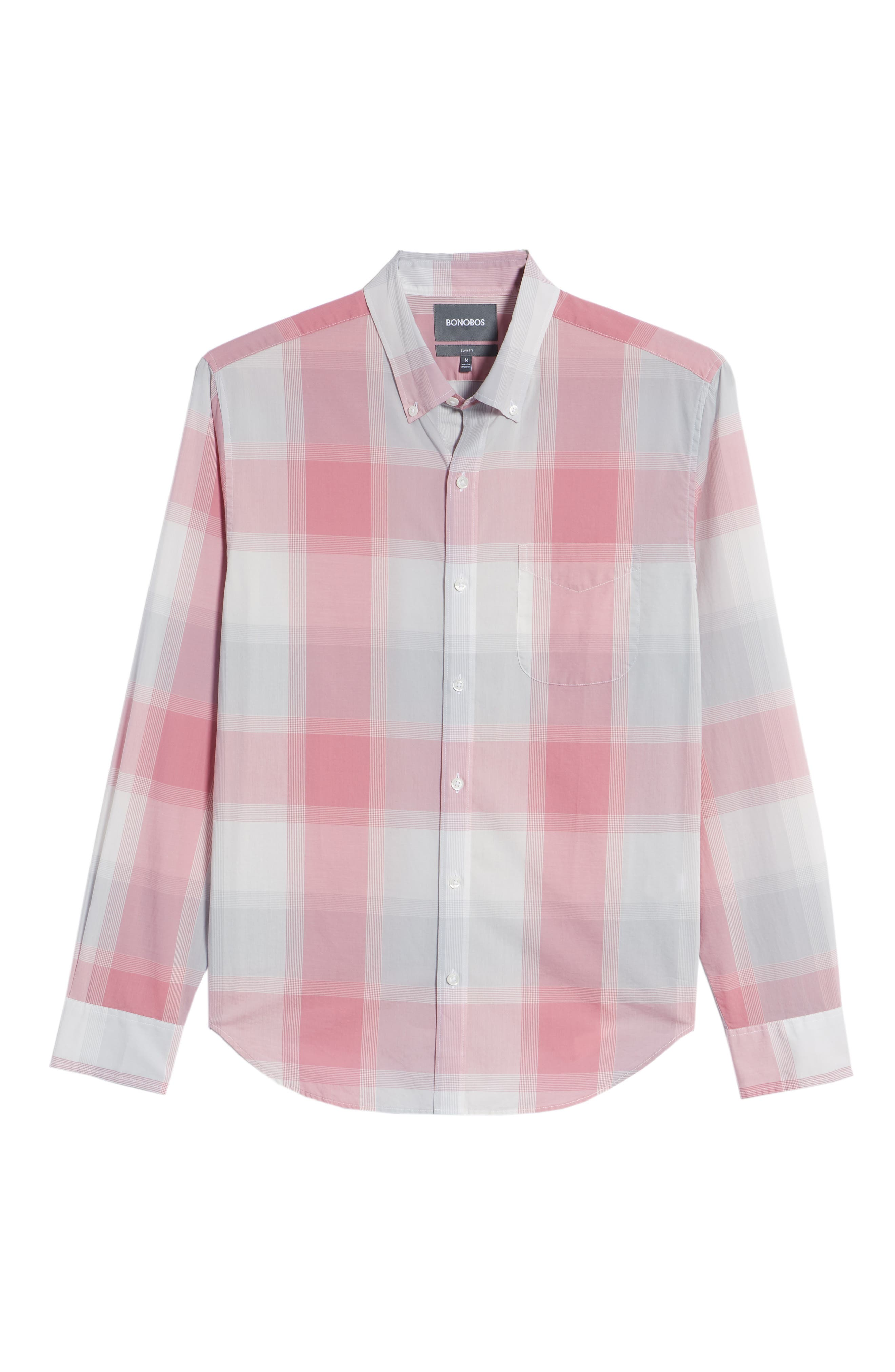 Summerweight Slim Fit Plaid Sport Shirt,                             Alternate thumbnail 6, color,                             Oro Plaid - Pink Sand