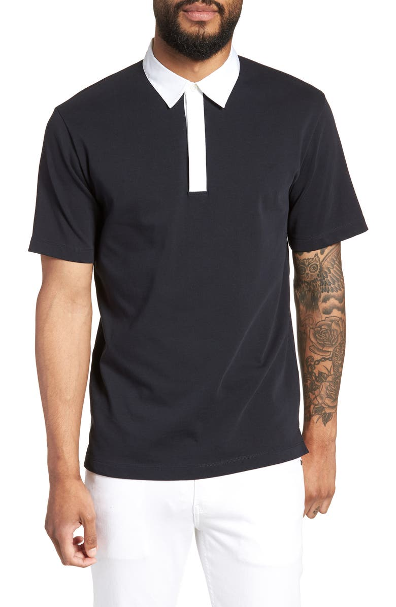 Theory Mens Rope Jersey Rugby Polo Shirt In Eclipse Modesens
