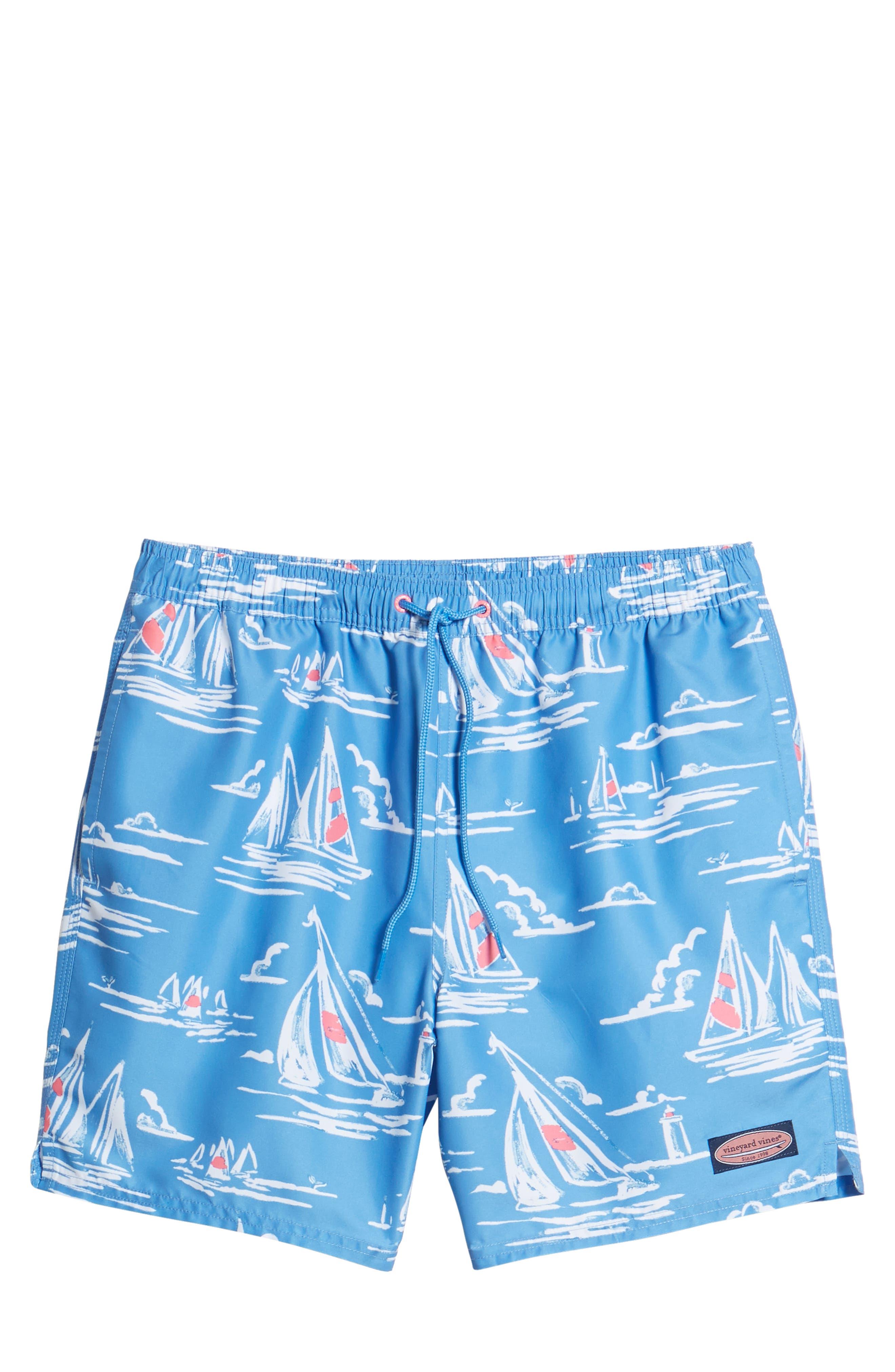 Chappy Sailing Scene Swim Trunks,                             Alternate thumbnail 6, color,                             Cornflower