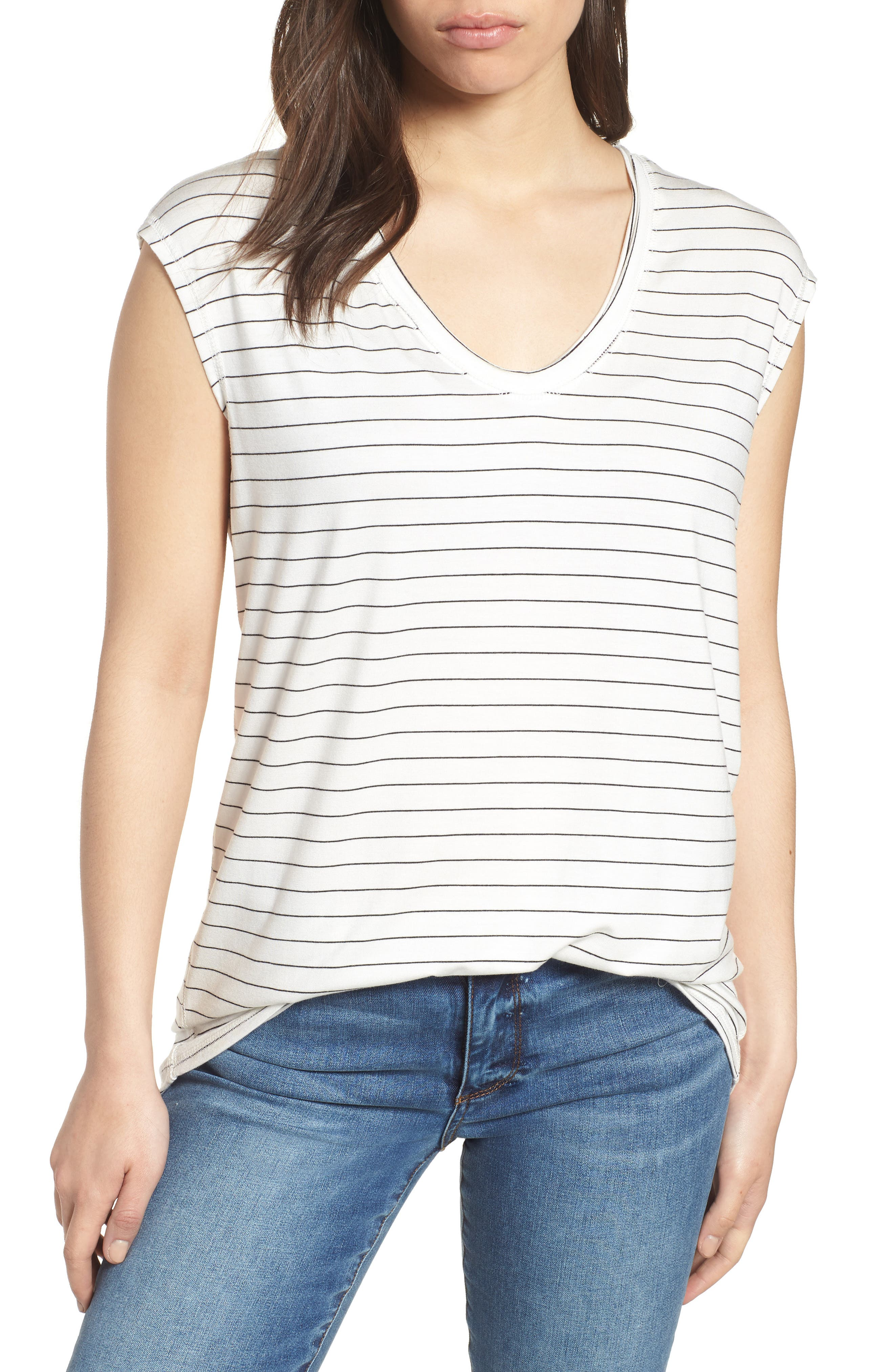 Off-Duty Sleeveless Stretch Knit Top,                         Main,                         color, White- Black Cloud Stripe