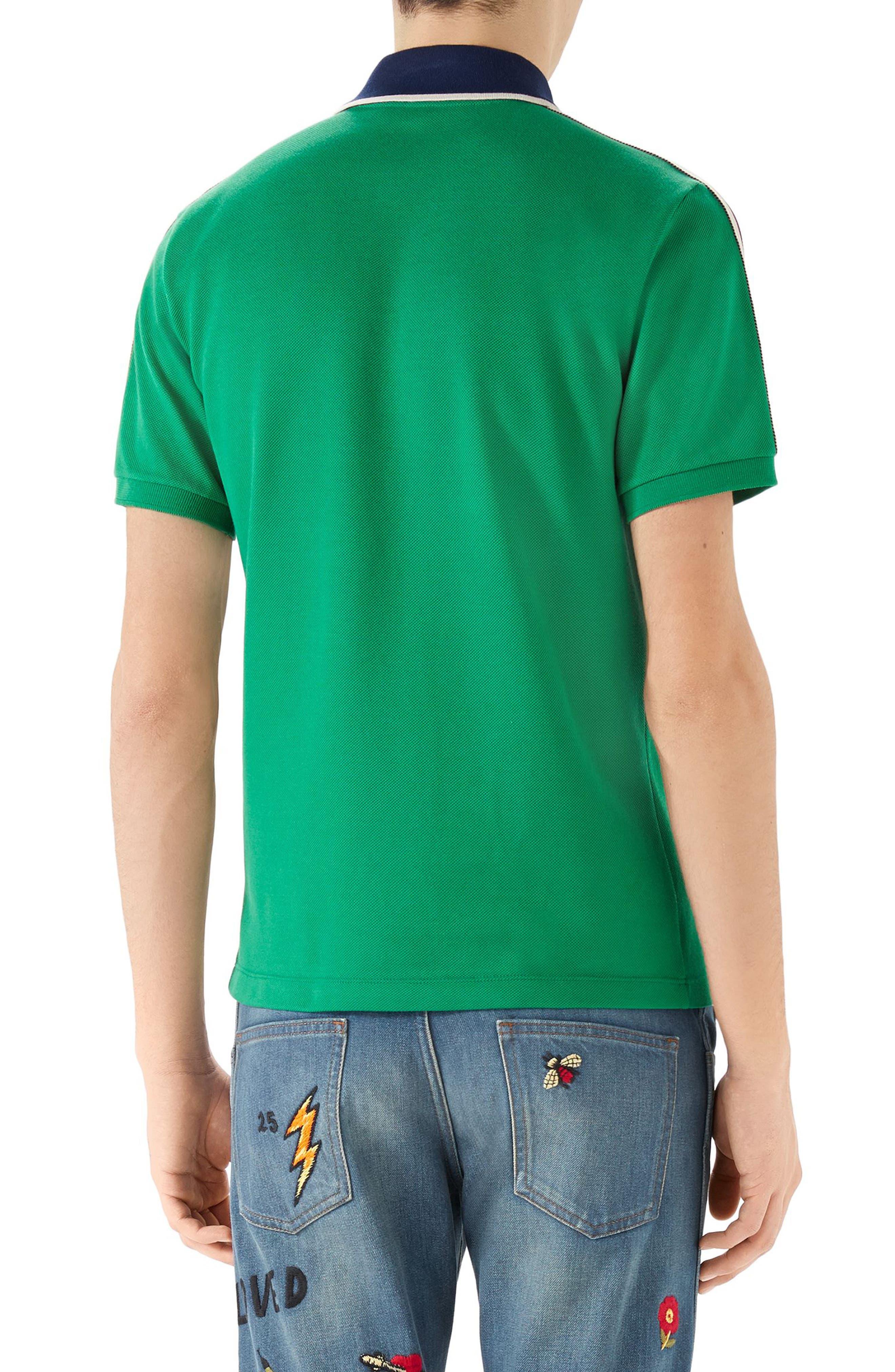 Jacquard Stripe Sleeve Piqué Polo,                             Alternate thumbnail 2, color,                             Green
