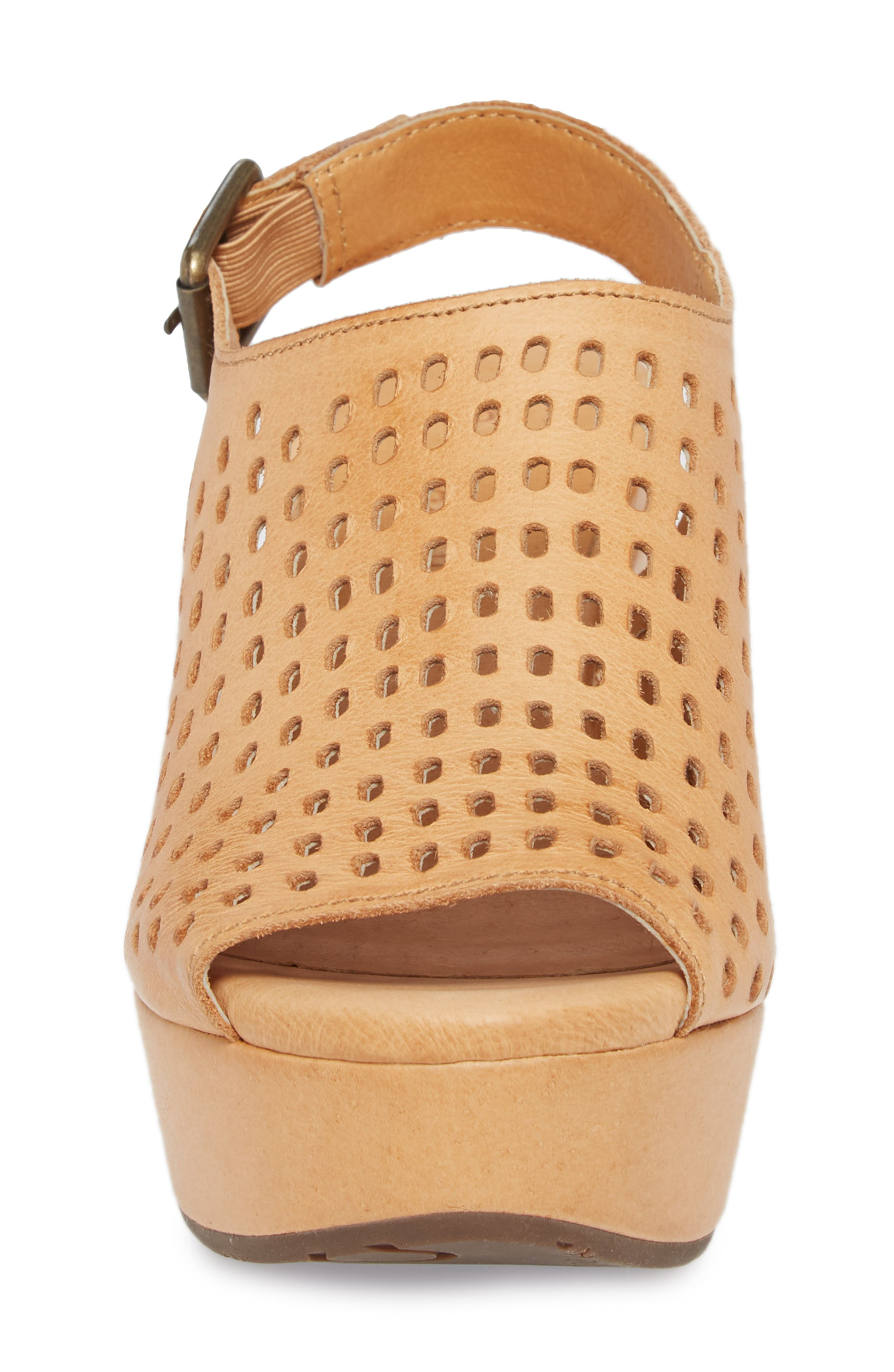 Wally Platform Wedge Sandal,                             Alternate thumbnail 4, color,                             Tan Leather