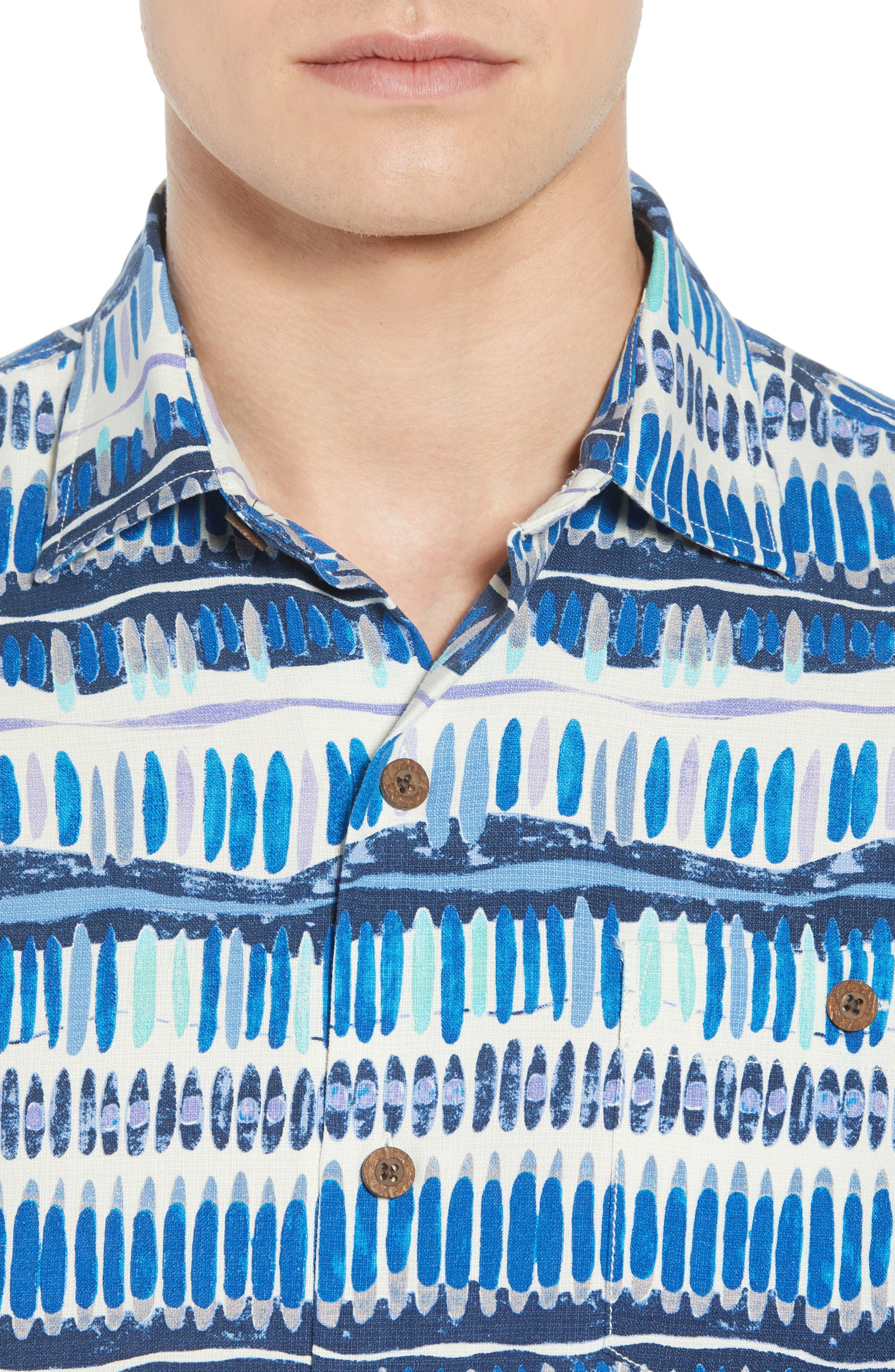 Geo Surf Silk Blend Camp Shirt,                             Alternate thumbnail 2, color,                             Old Royal