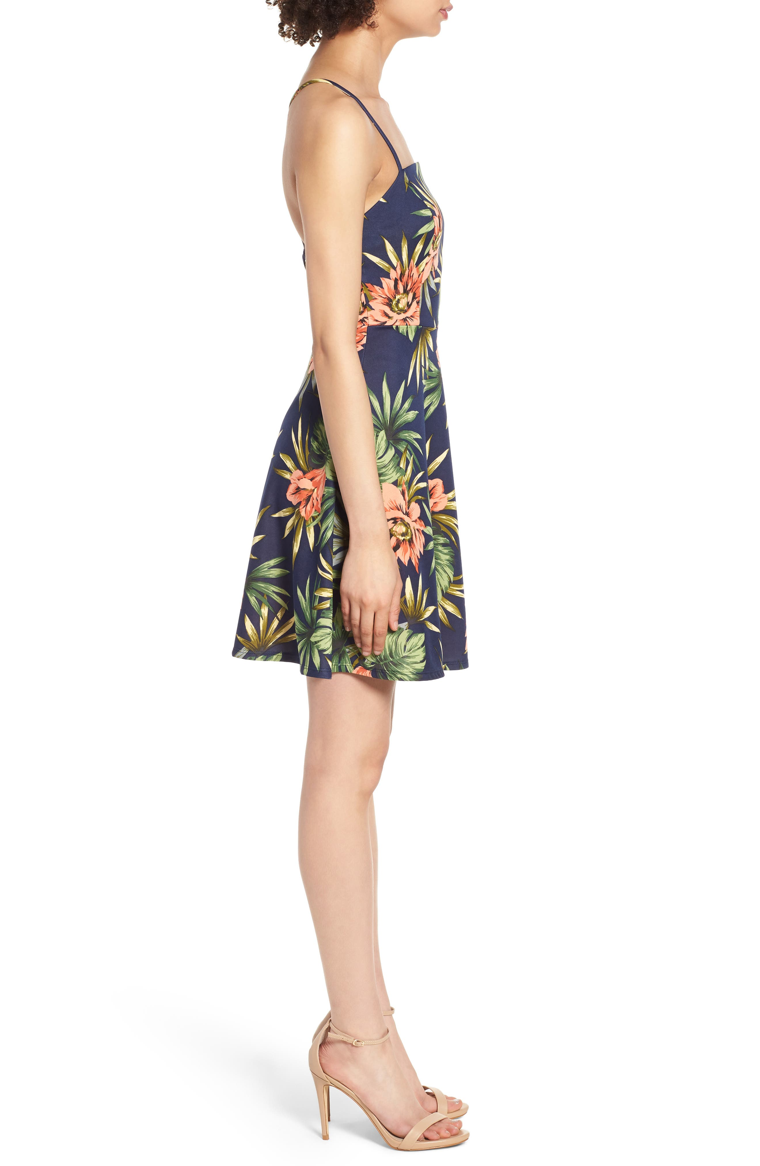 Fit & Flare Dress,                             Alternate thumbnail 3, color,                             266 Navy