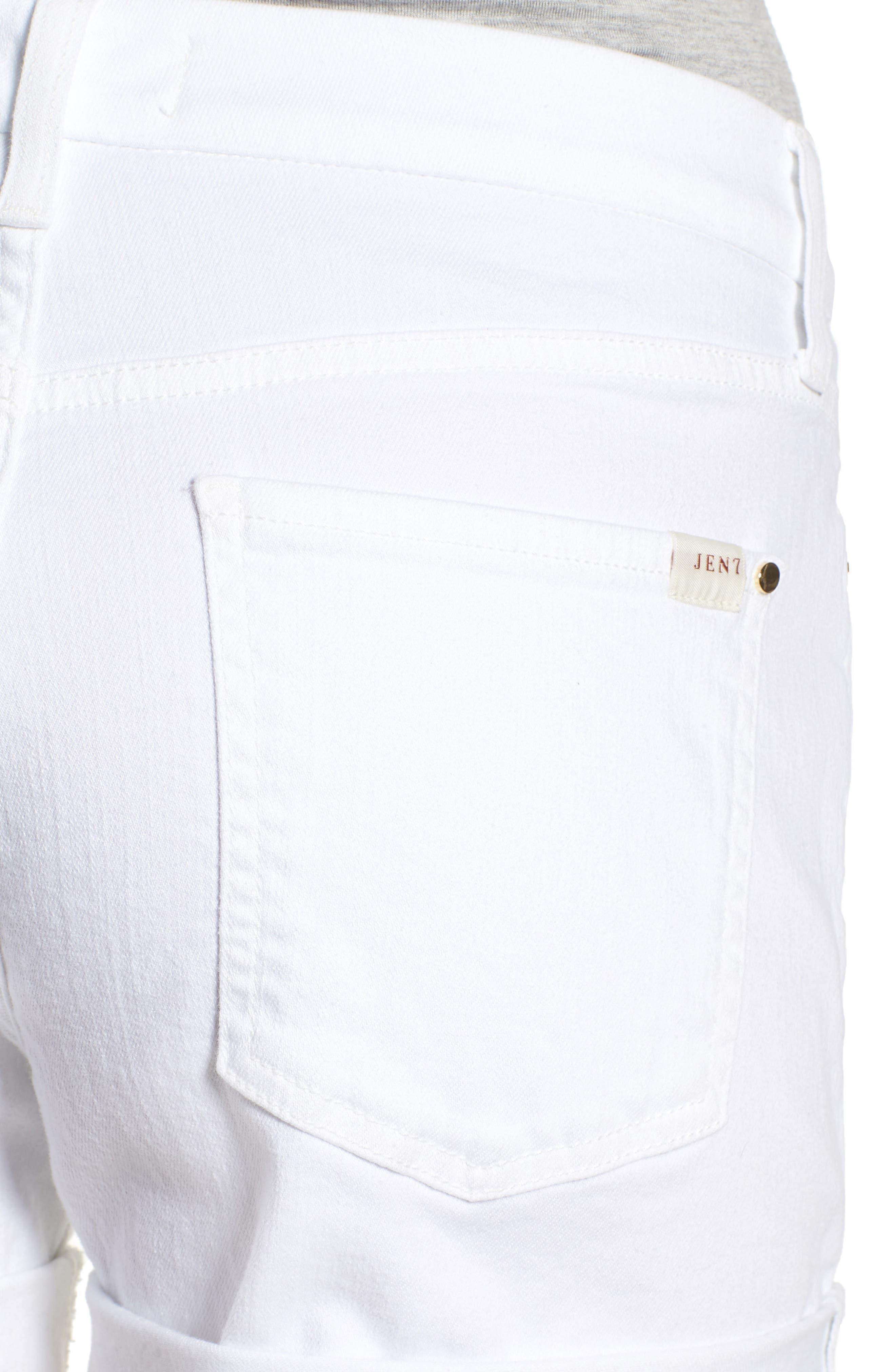 Rolled Denim Shorts,                             Alternate thumbnail 4, color,                             White