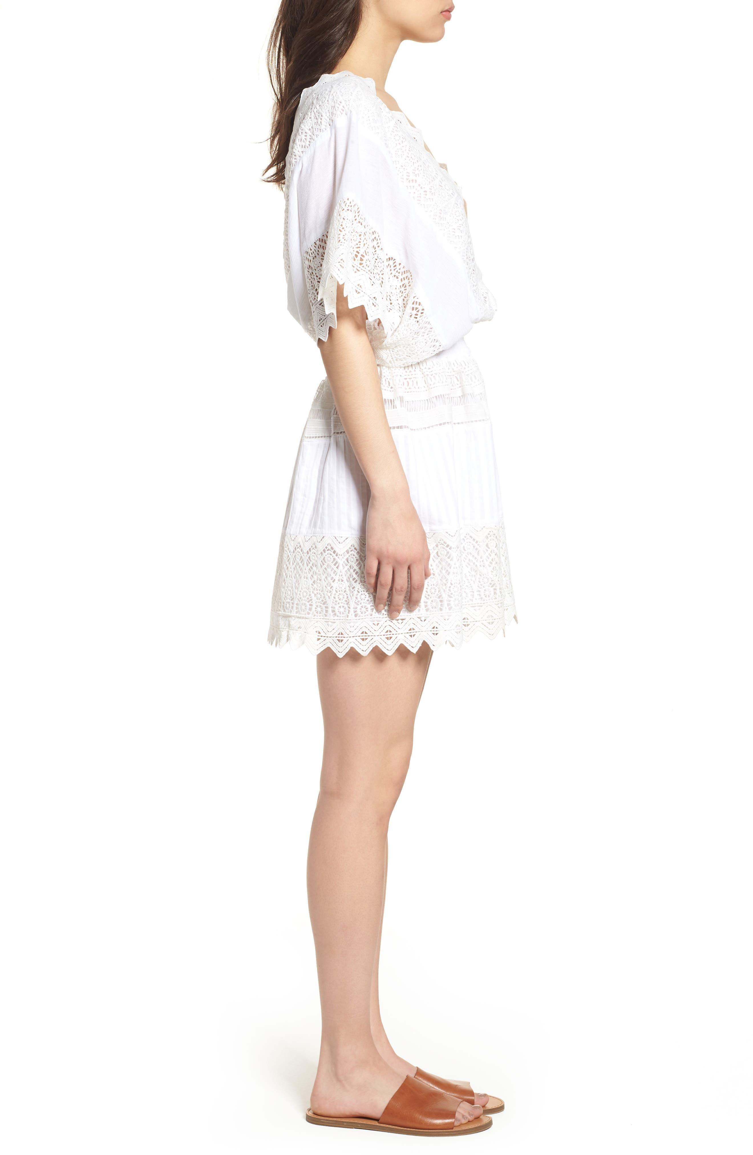 Rosa Lace Minidress,                             Alternate thumbnail 3, color,                             White
