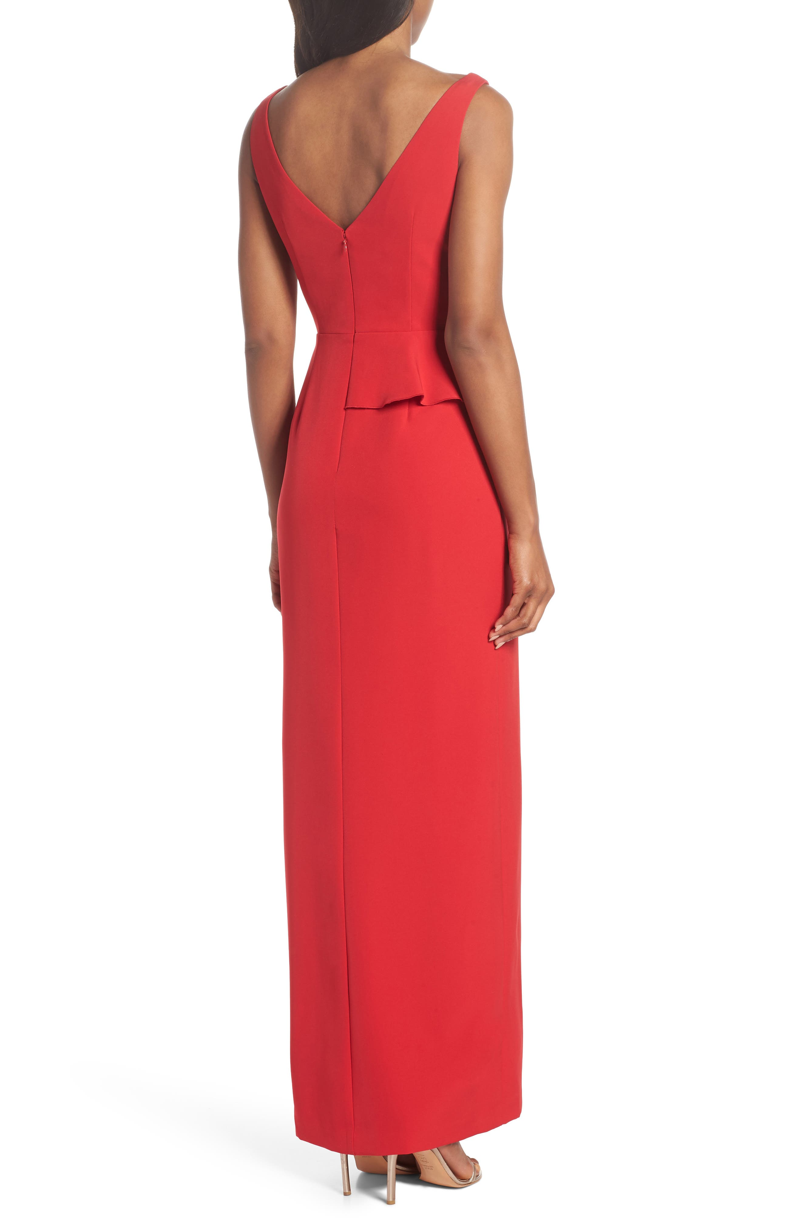 Laguna Faux Wrap Gown,                             Alternate thumbnail 2, color,                             Red