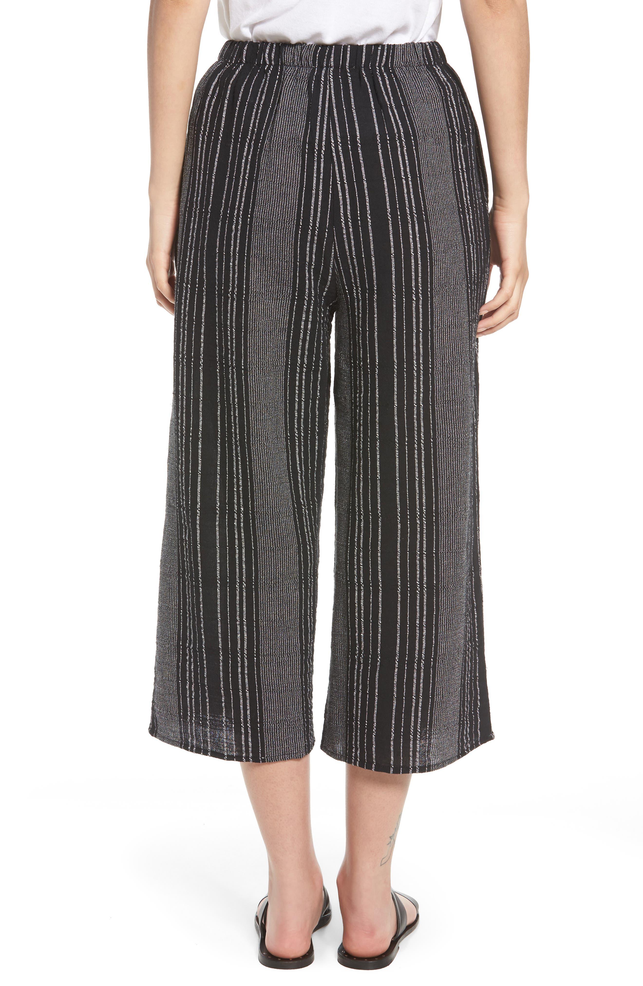 Bella Stripe Crop Pants,                             Alternate thumbnail 3, color,                             Black