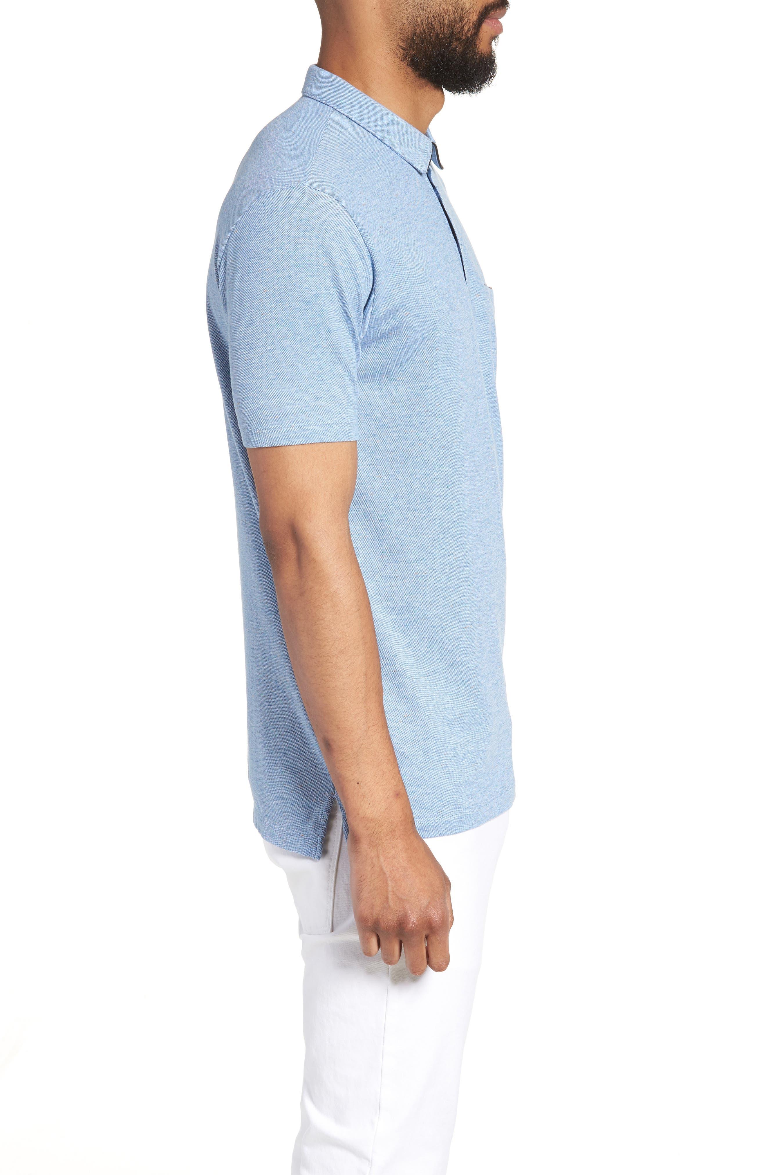 Darrow Cotton Polo Shirt,                             Alternate thumbnail 3, color,                             Blue