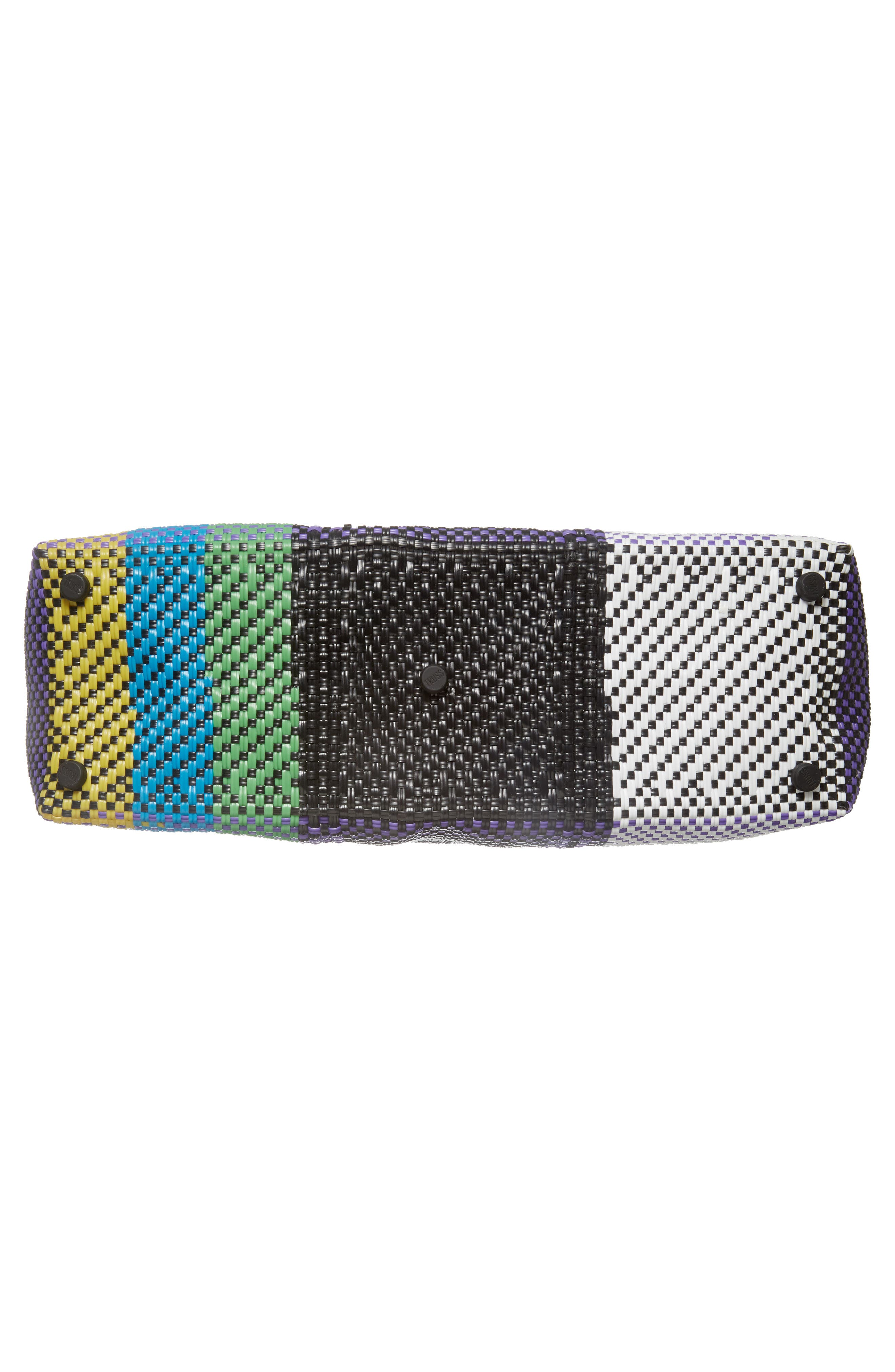 Large Woven Tote,                             Alternate thumbnail 6, color,                             Green/ Yellow
