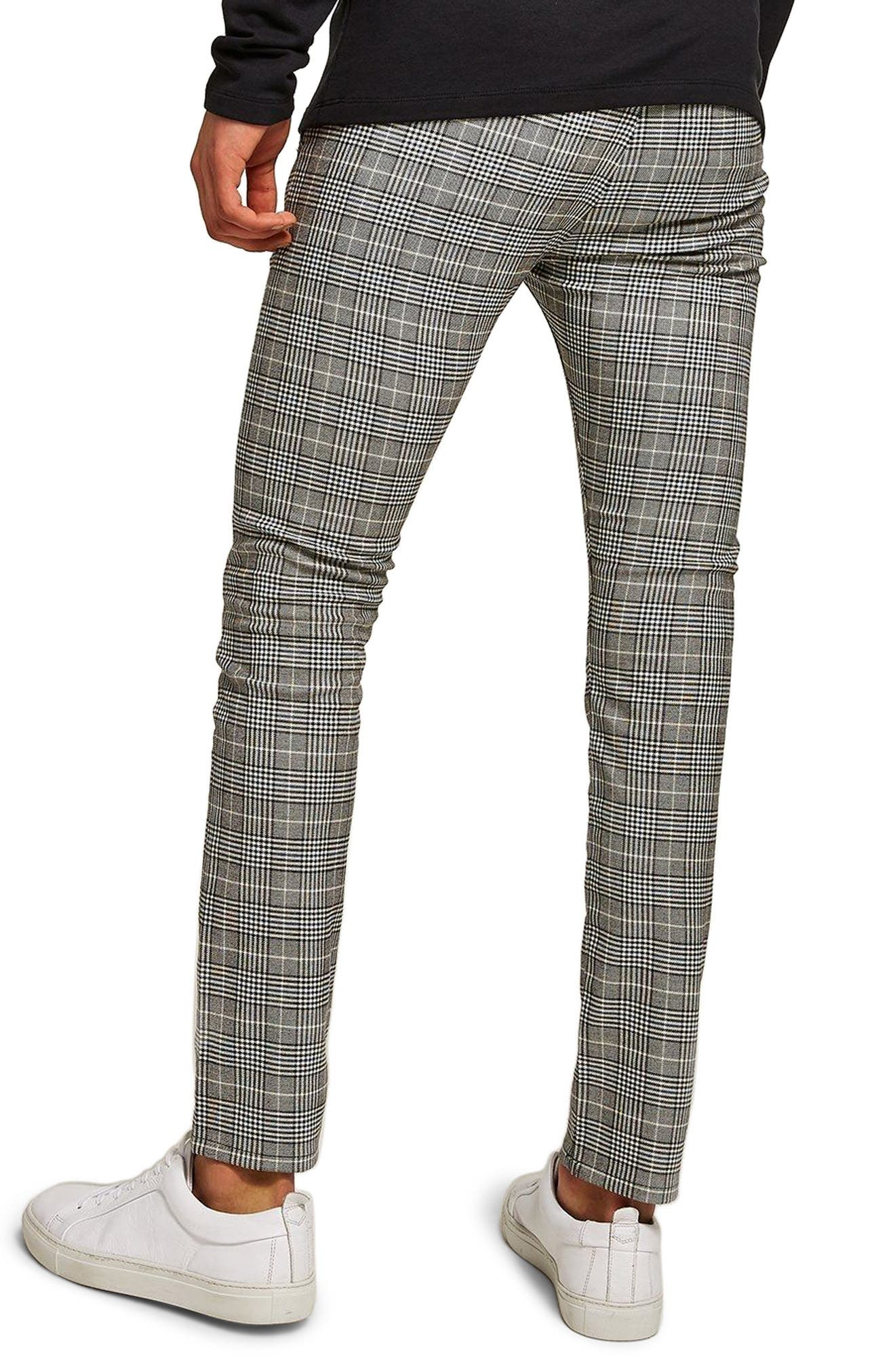 Stretch Skinny Fit Check Chinos,                             Alternate thumbnail 2, color,                             Grey Multi