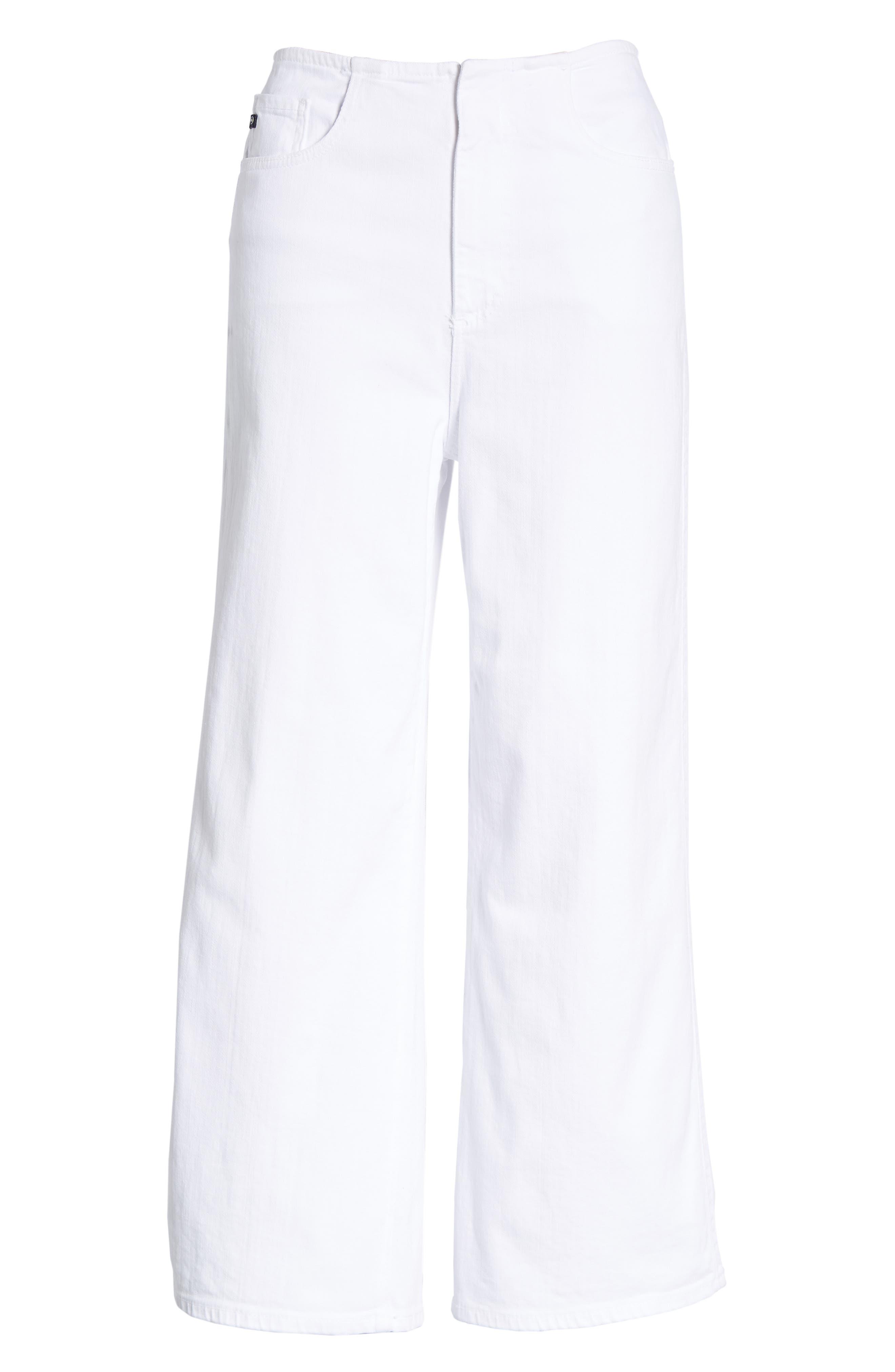 Etta High Waist Crop Wide Leg Jeans,                             Alternate thumbnail 7, color,                             White