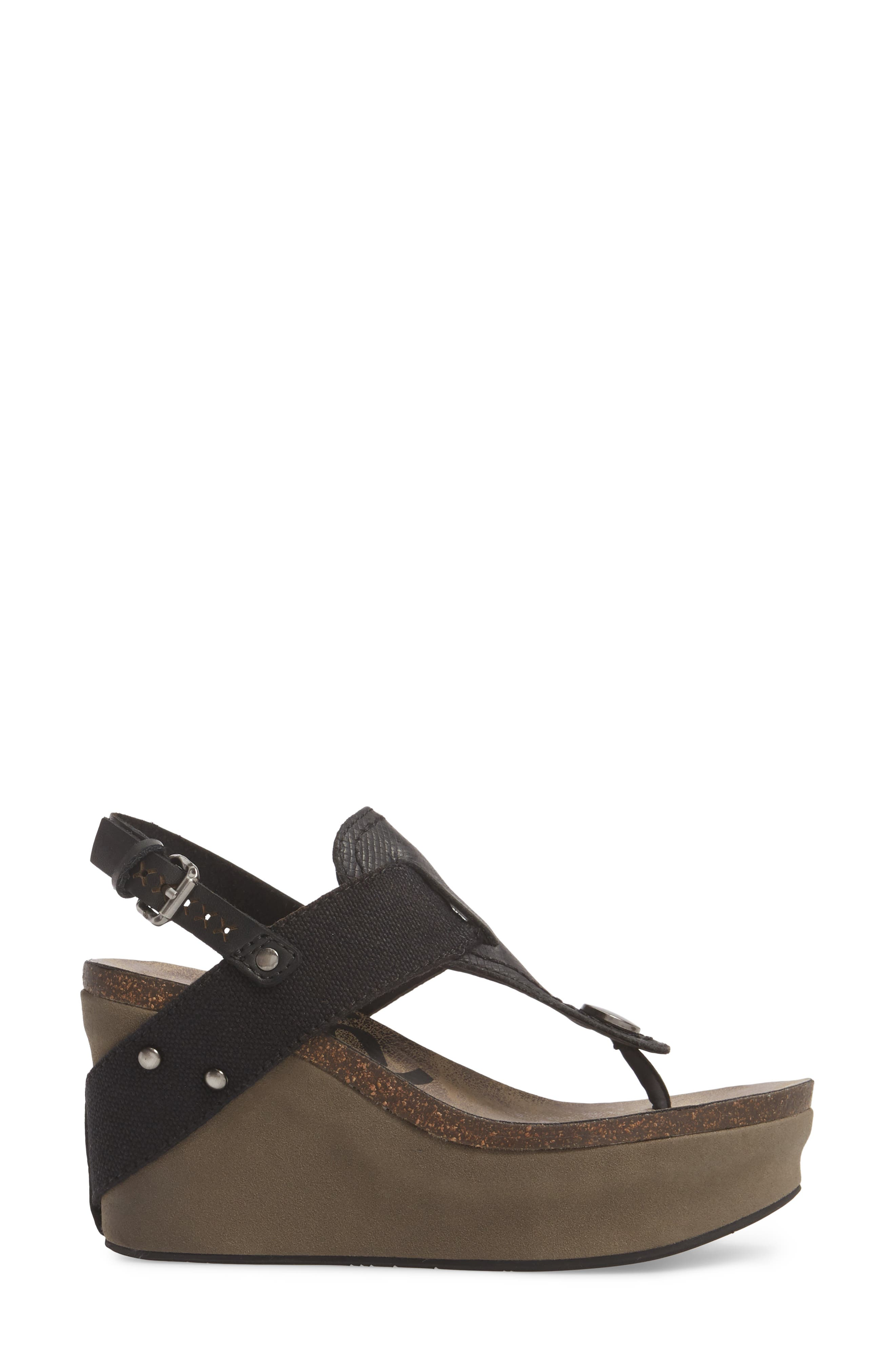 Joyride Wedge Sandal,                             Alternate thumbnail 3, color,                             Black Leather