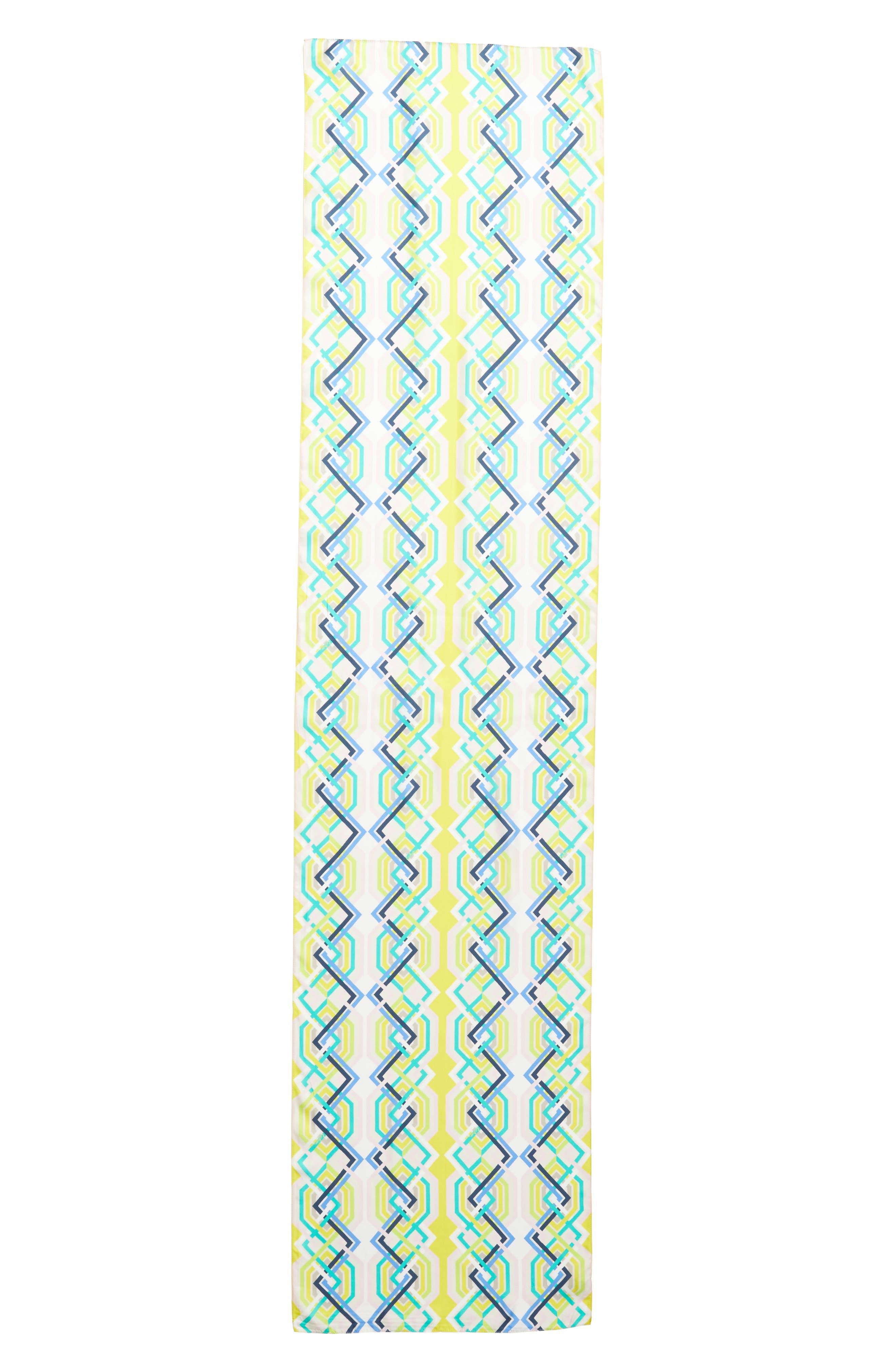 Geo Lattice Silk Scarf,                             Alternate thumbnail 3, color,                             Sunburst