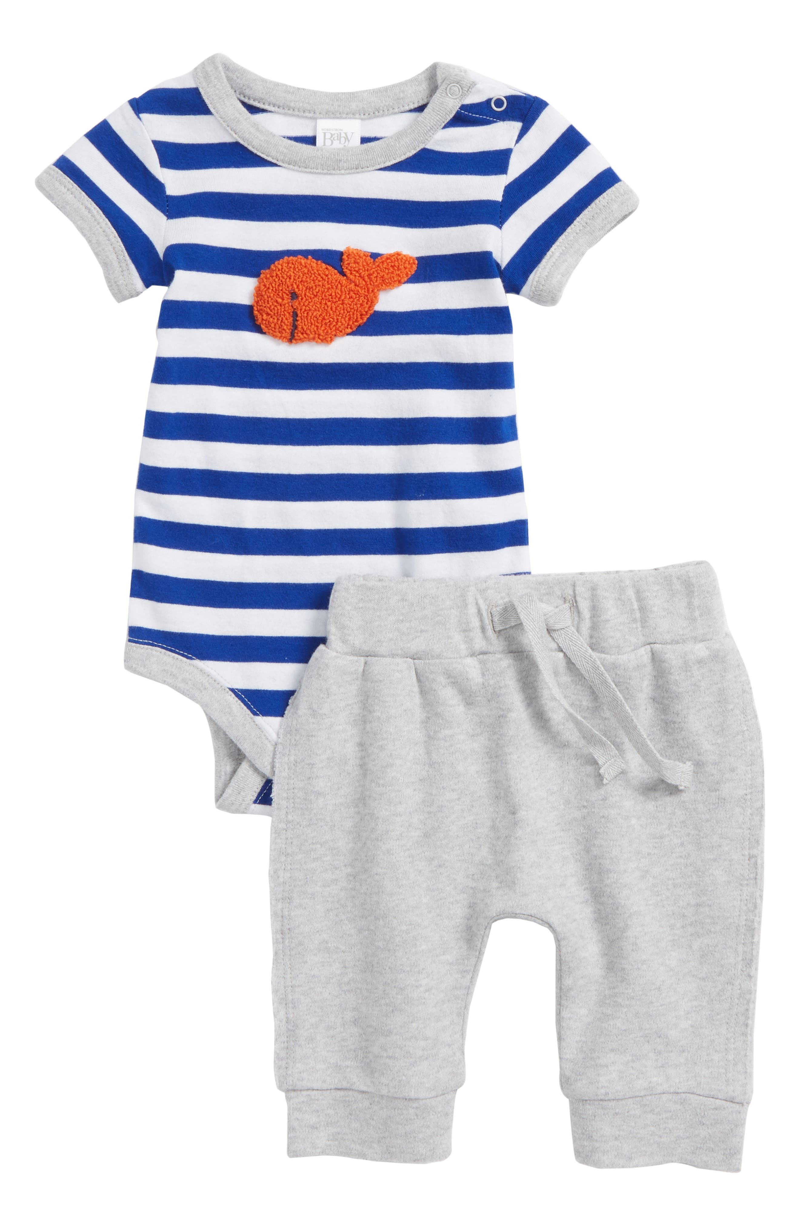 Goldfish Bodysuit & Pants Set,                             Main thumbnail 1, color,                             Blue Surf Goldfish