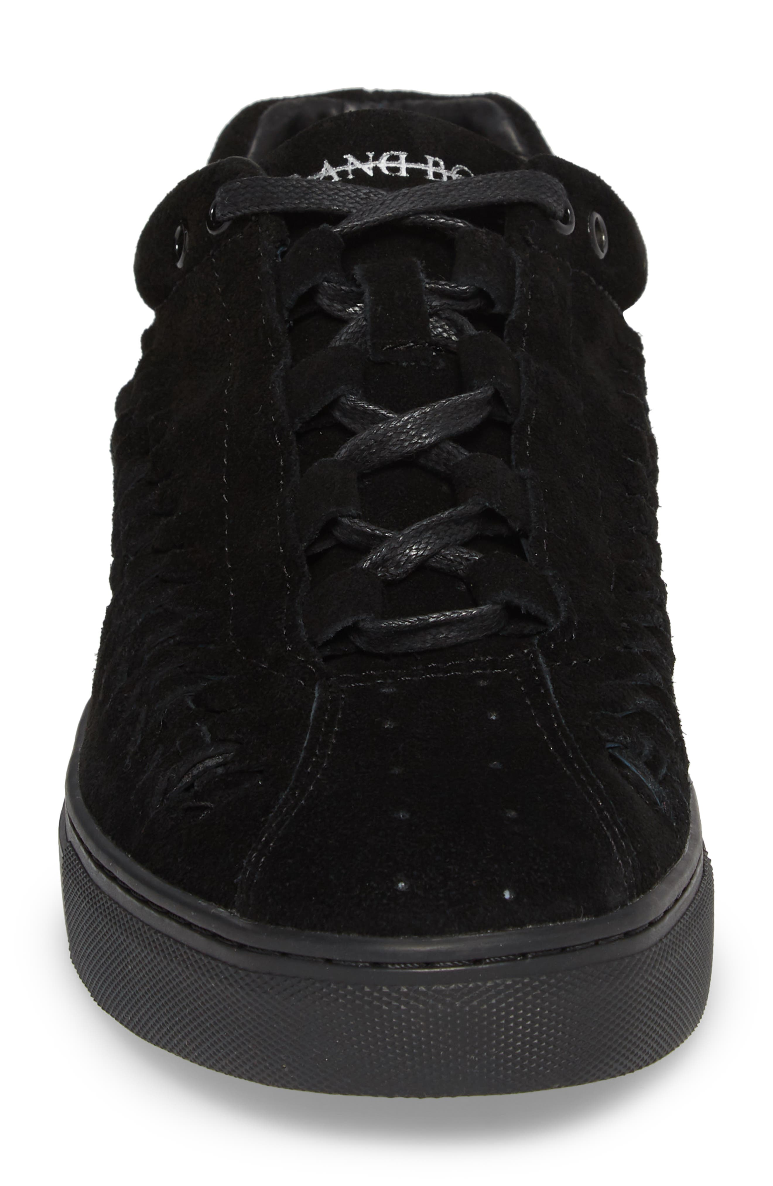 Leather Wire Sneaker,                             Alternate thumbnail 4, color,                             Black Suede
