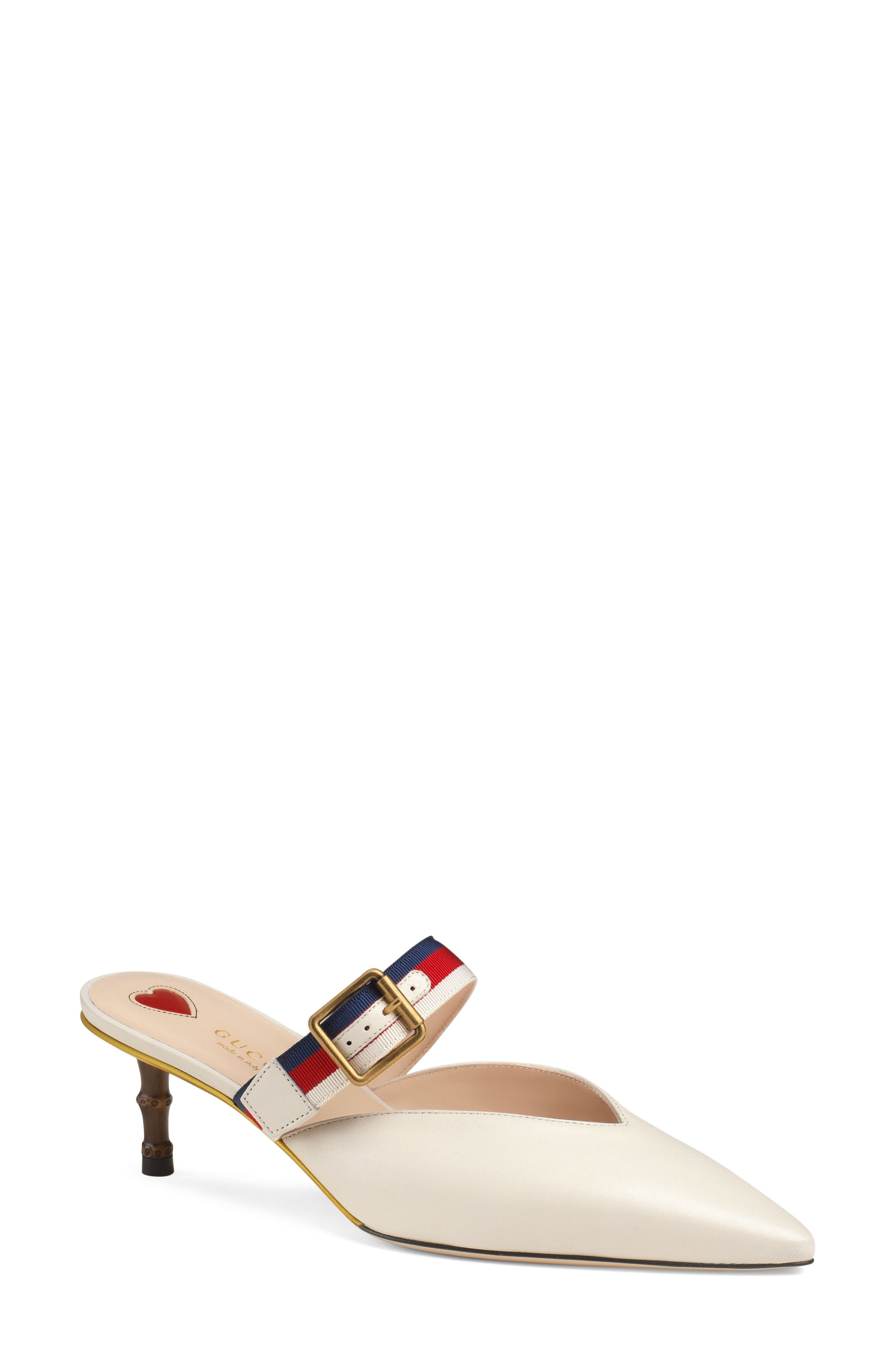 Unia Pointy Toe Mule,                             Main thumbnail 1, color,                             Mystic White