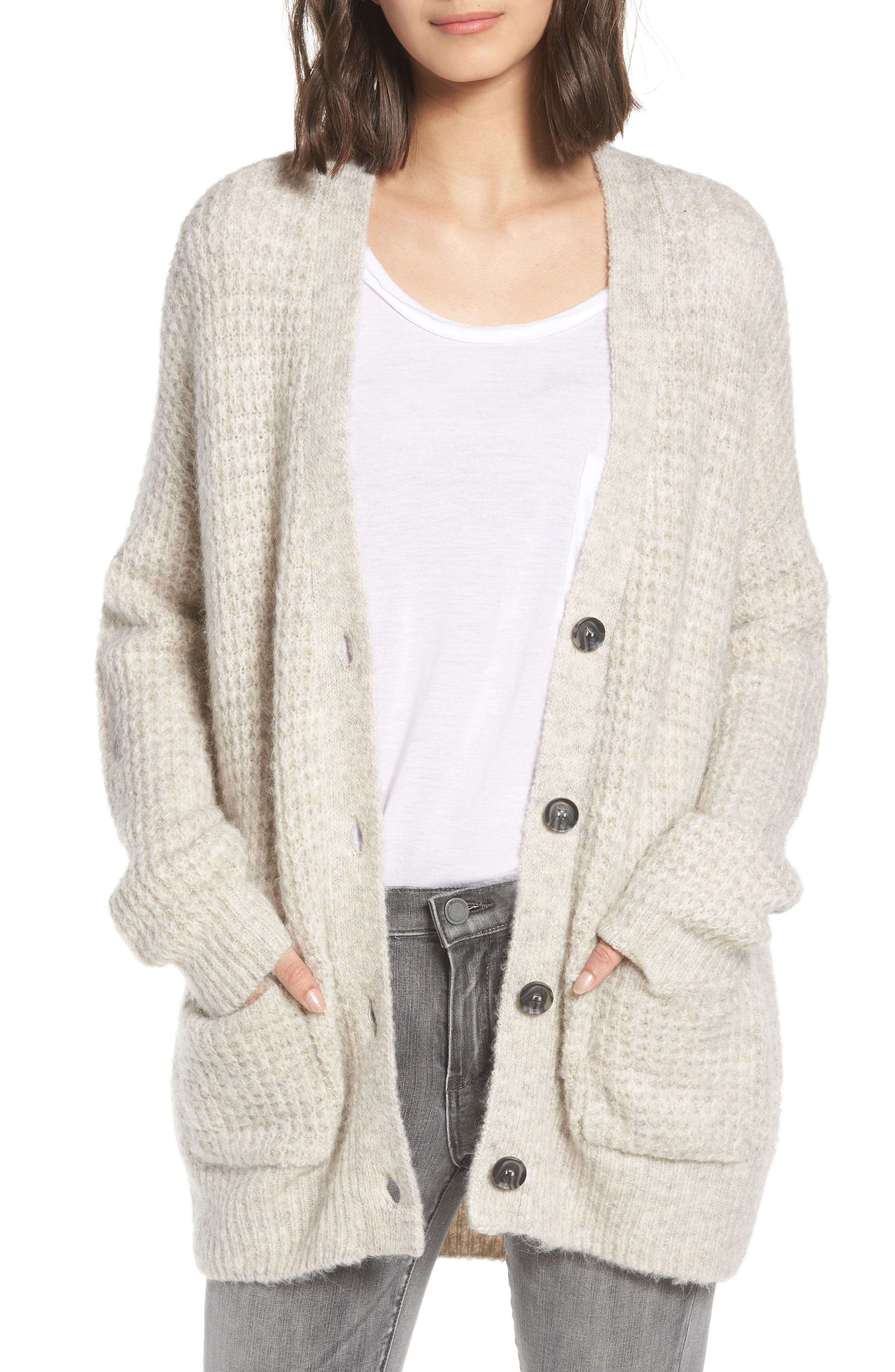 Oversized Waffle Stitch Cardigan,                             Main thumbnail 1, color,                             Beige Birch