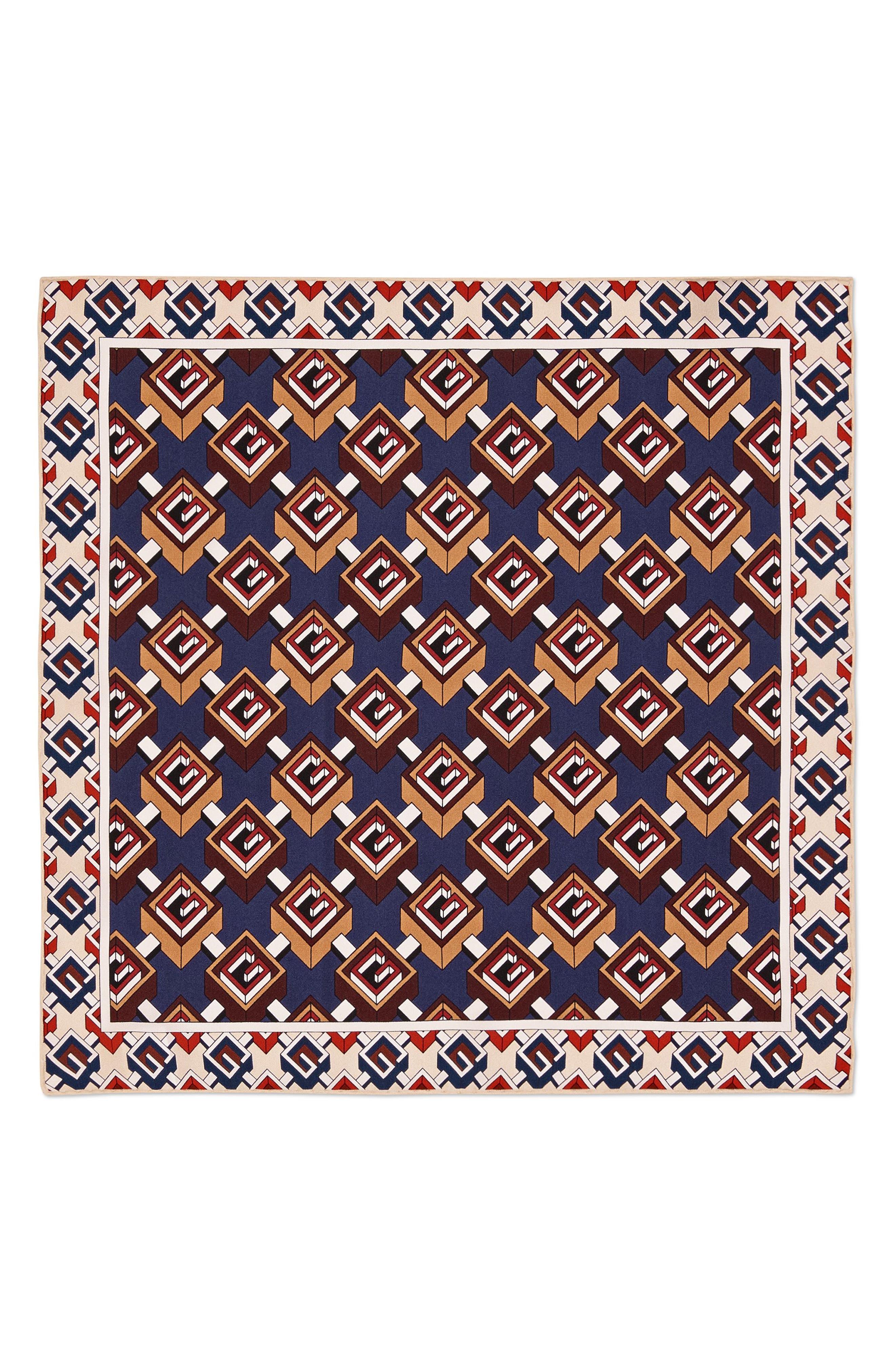 Multi-G Silk Pocket Square,                             Alternate thumbnail 2, color,                             Red/ Blue