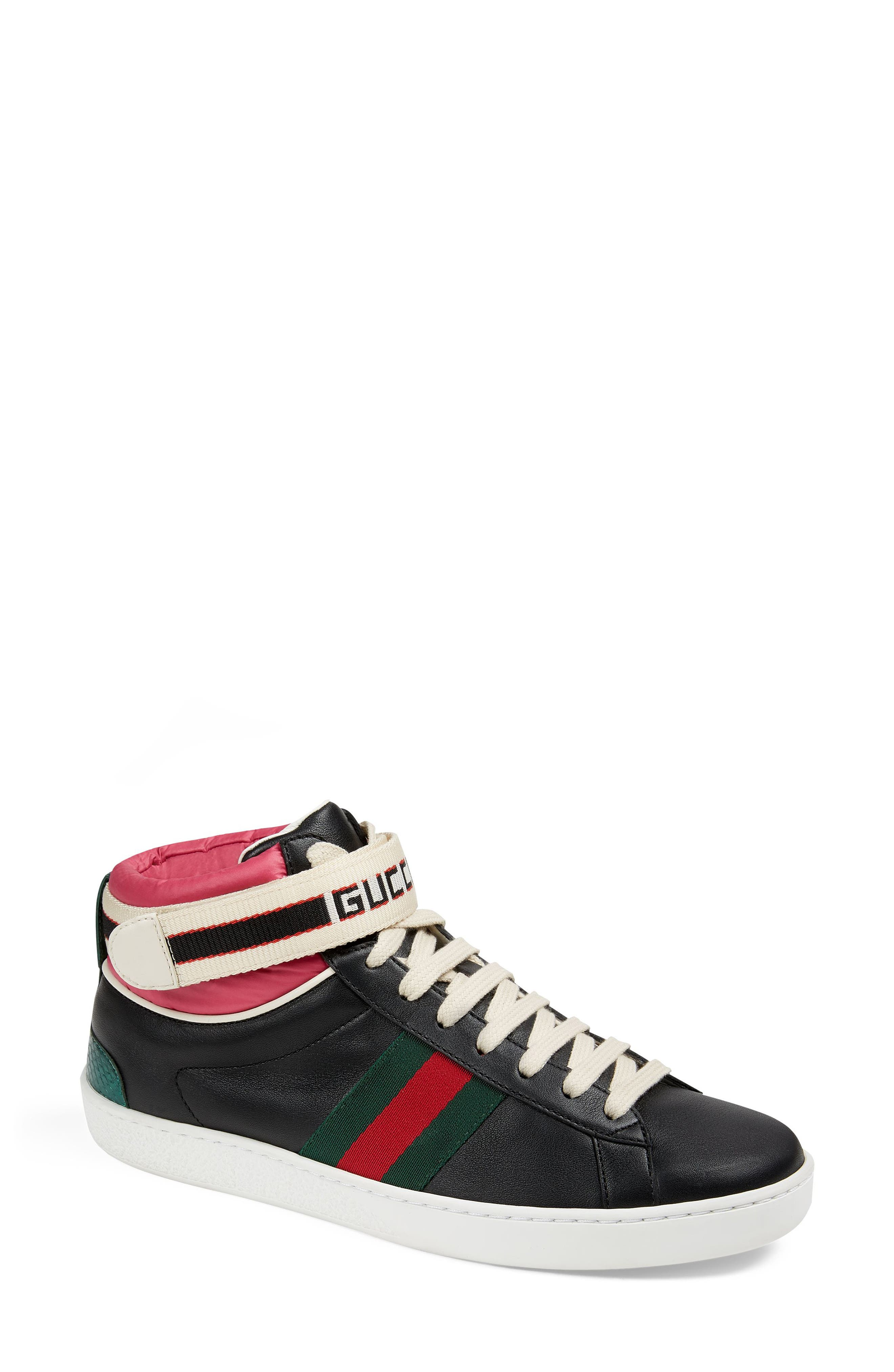 New Ace High Top Sneaker with Genuine Snakeskin Trim,                         Main,                         color, Black