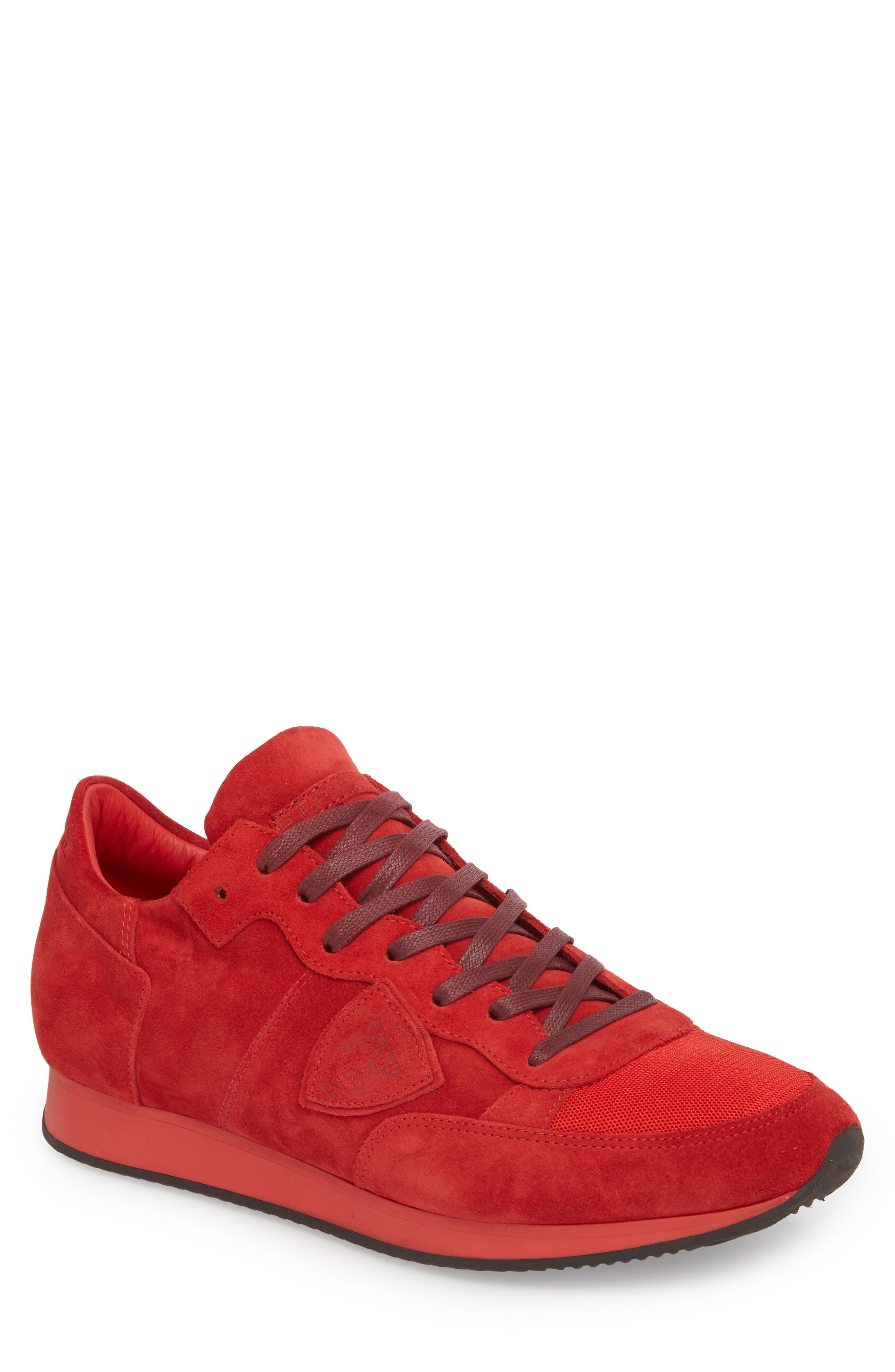 Tropez Low Top Sneaker,                             Main thumbnail 1, color,                             Red Suede