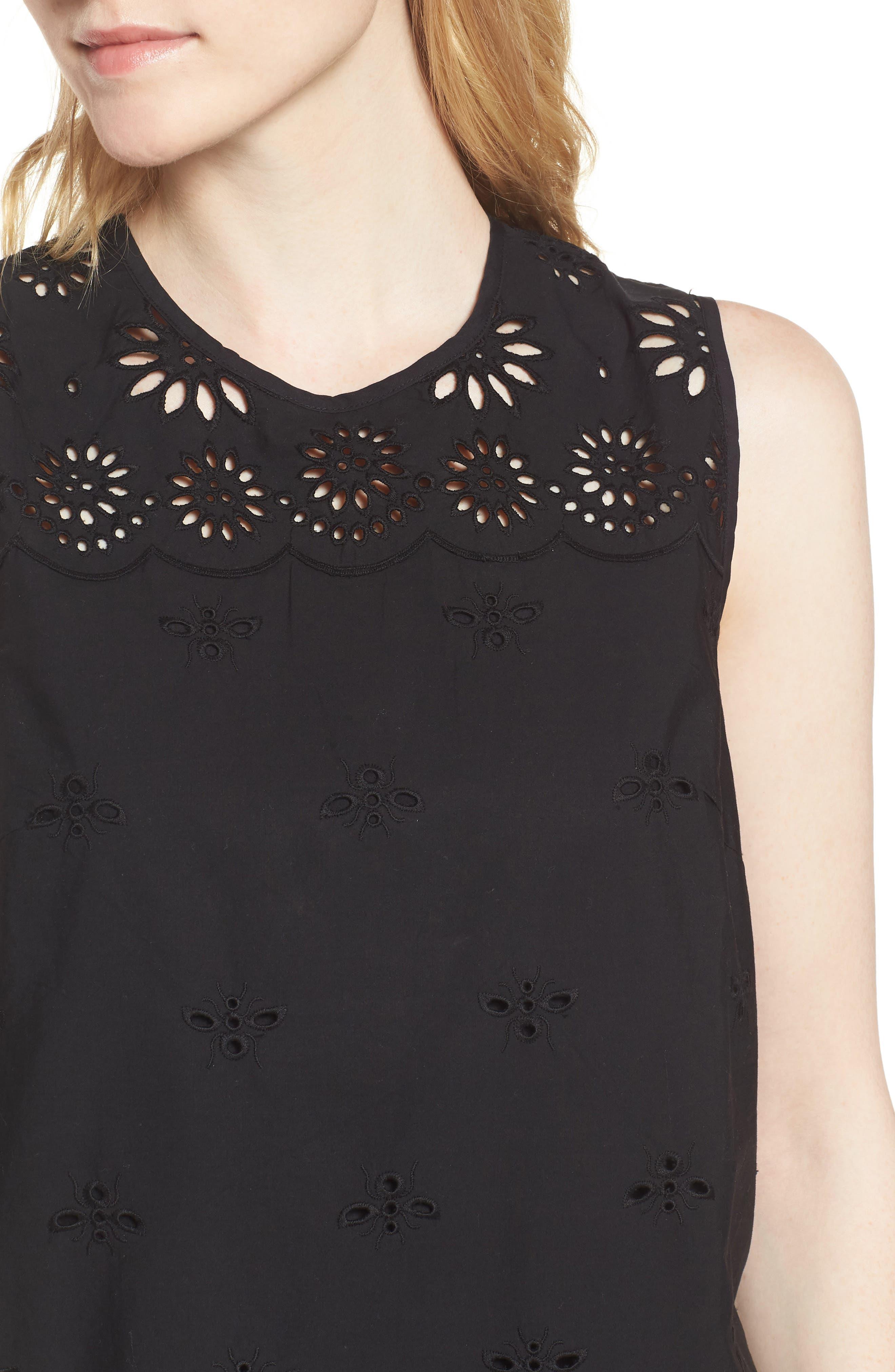 J.Crew Dante Yellowjacket Embroidery Dress,                             Alternate thumbnail 4, color,                             Black