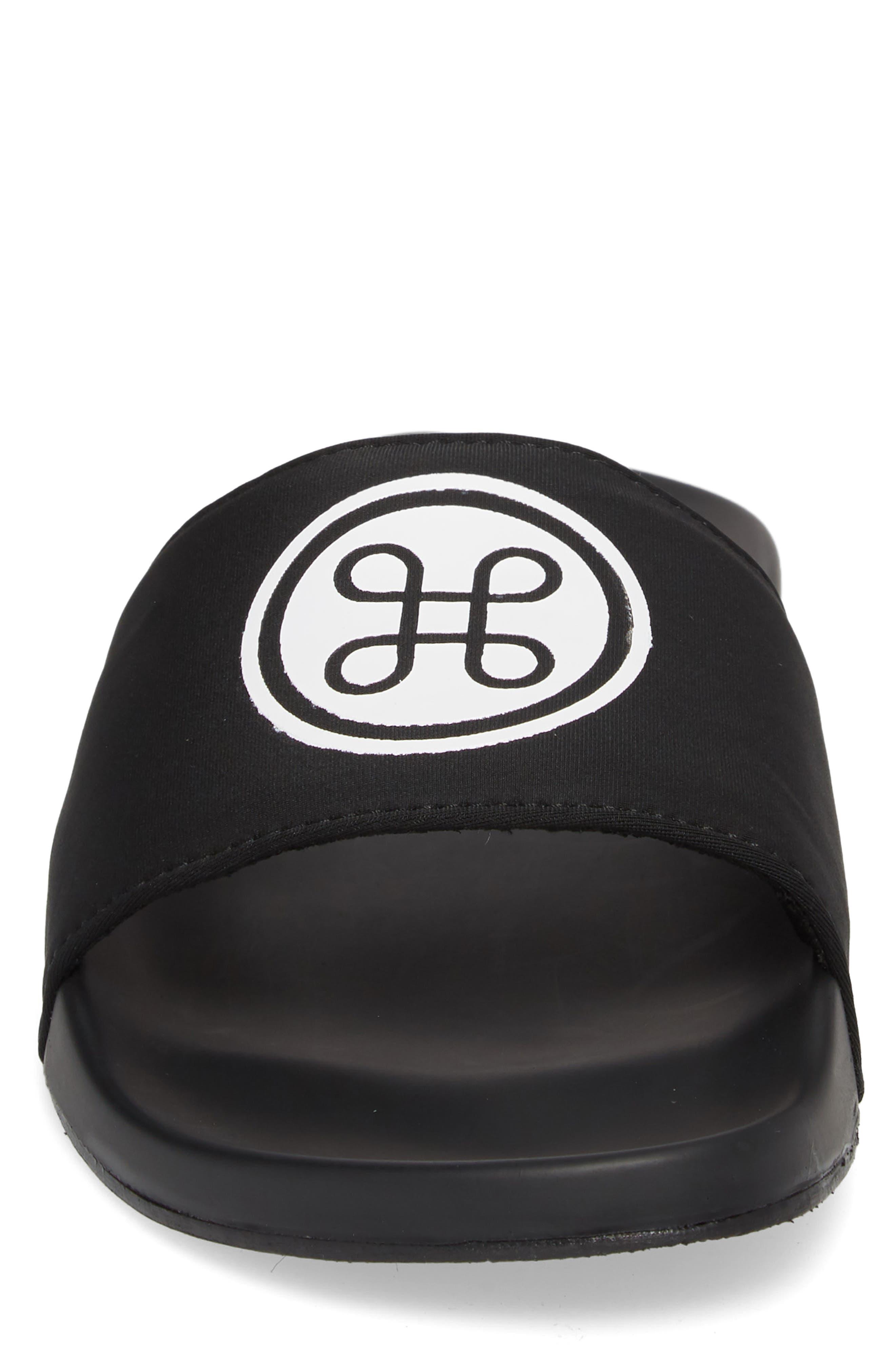 HB Logo Sport Slide,                             Alternate thumbnail 4, color,                             Black Neoprene Fabric