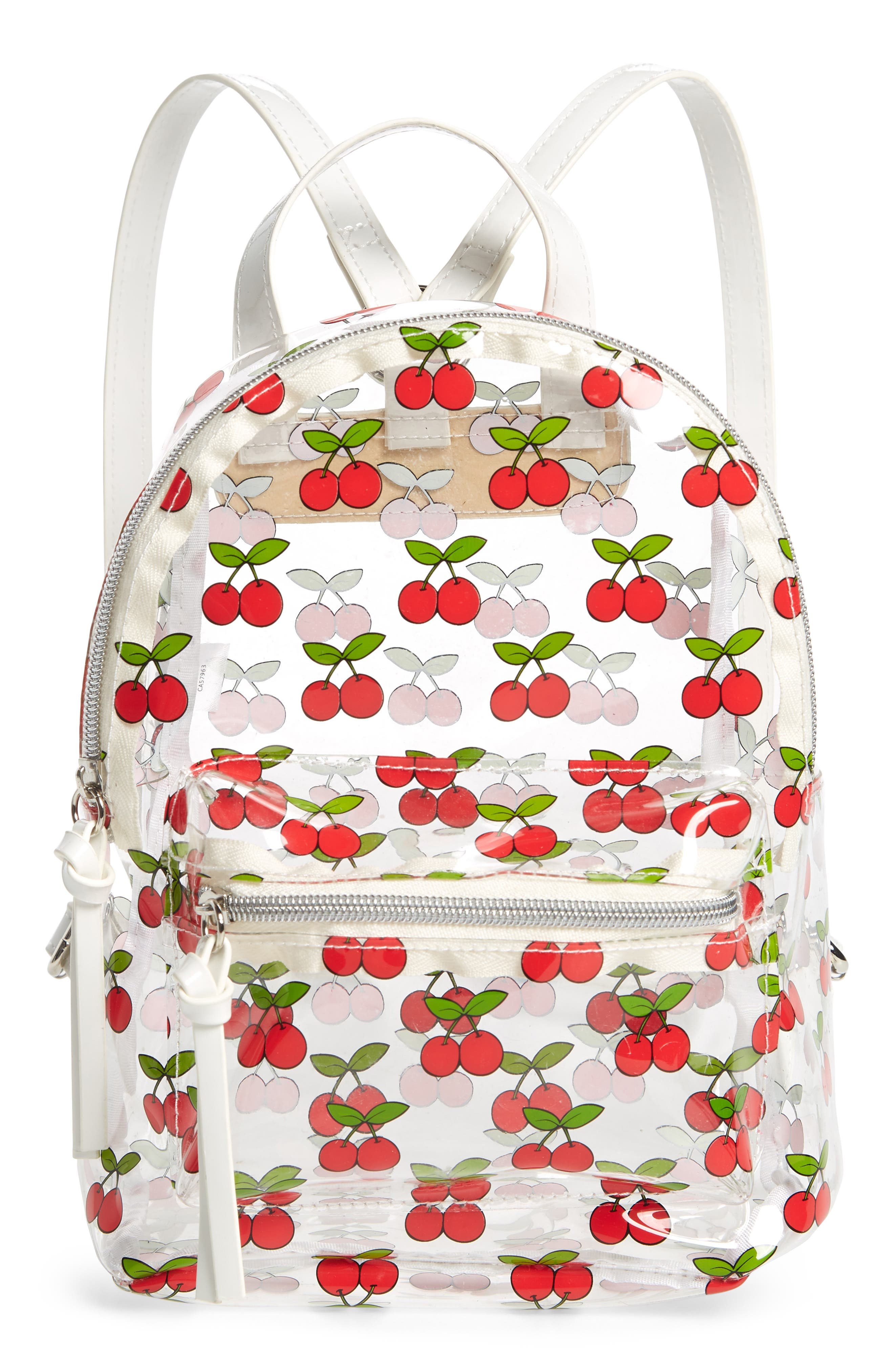 Transparent Cherry Print Mini Convertible Backpack,                             Main thumbnail 1, color,                             Clear/ Red