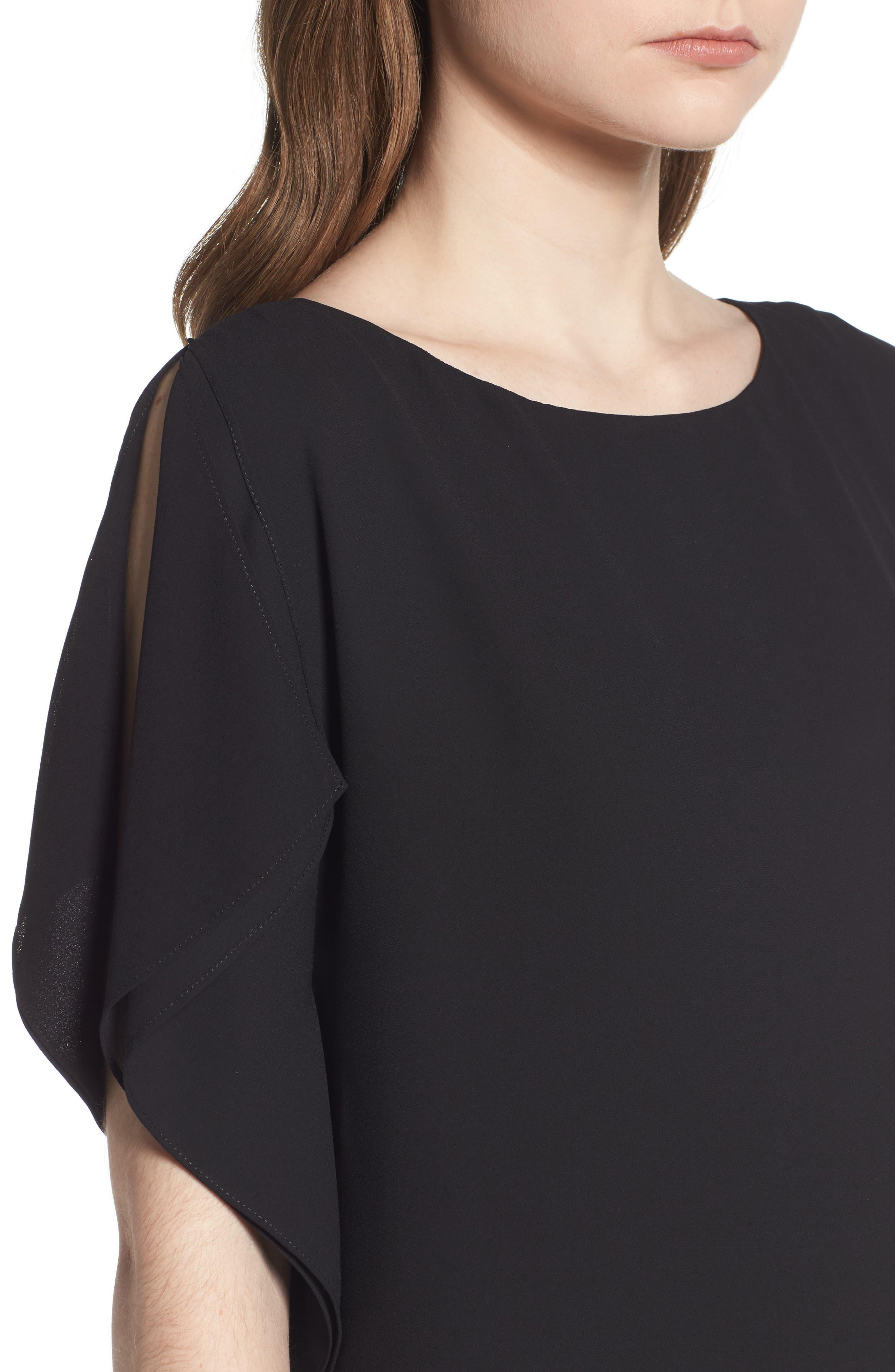 Flutter Sleeve Dress,                             Alternate thumbnail 4, color,                             Black