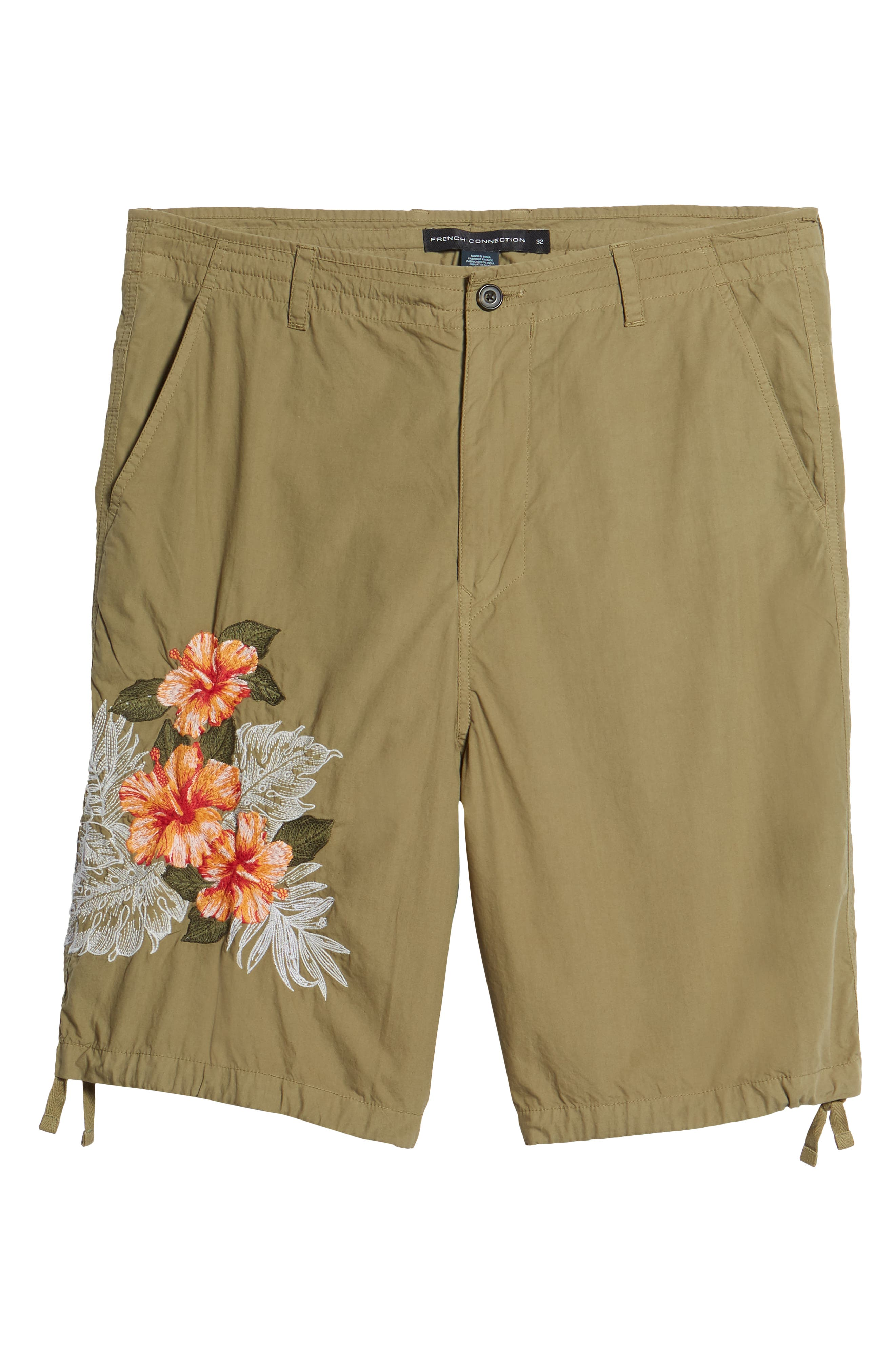 Embroidered Poplin Shorts,                             Alternate thumbnail 6, color,                             Deep Lichen Green