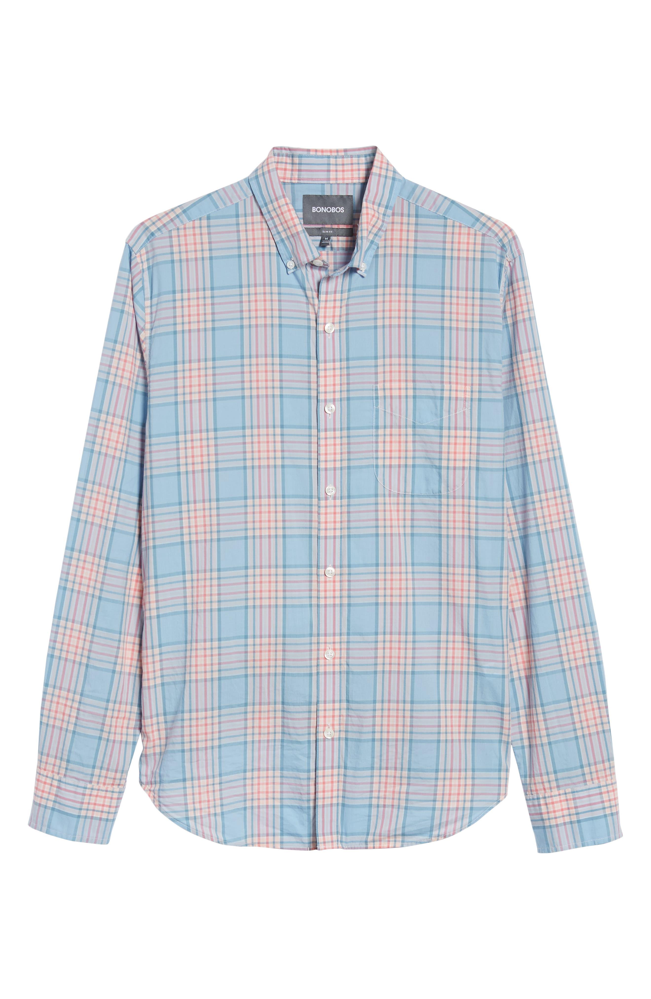 Slim Fit Plaid Sport Shirt,                             Alternate thumbnail 6, color,                             Sandoval Plaid - Peach Melba