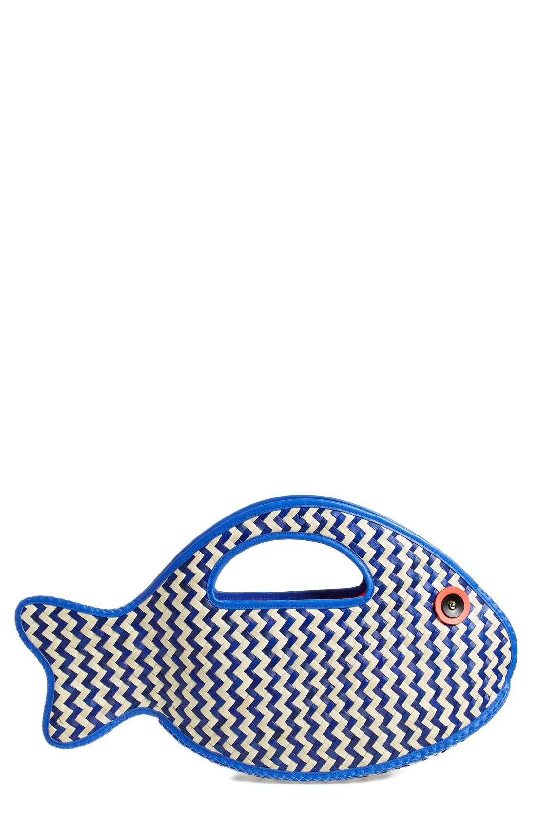 Alternate Image 1 Selected - kate spade new york 'splash out - fish' straw tote