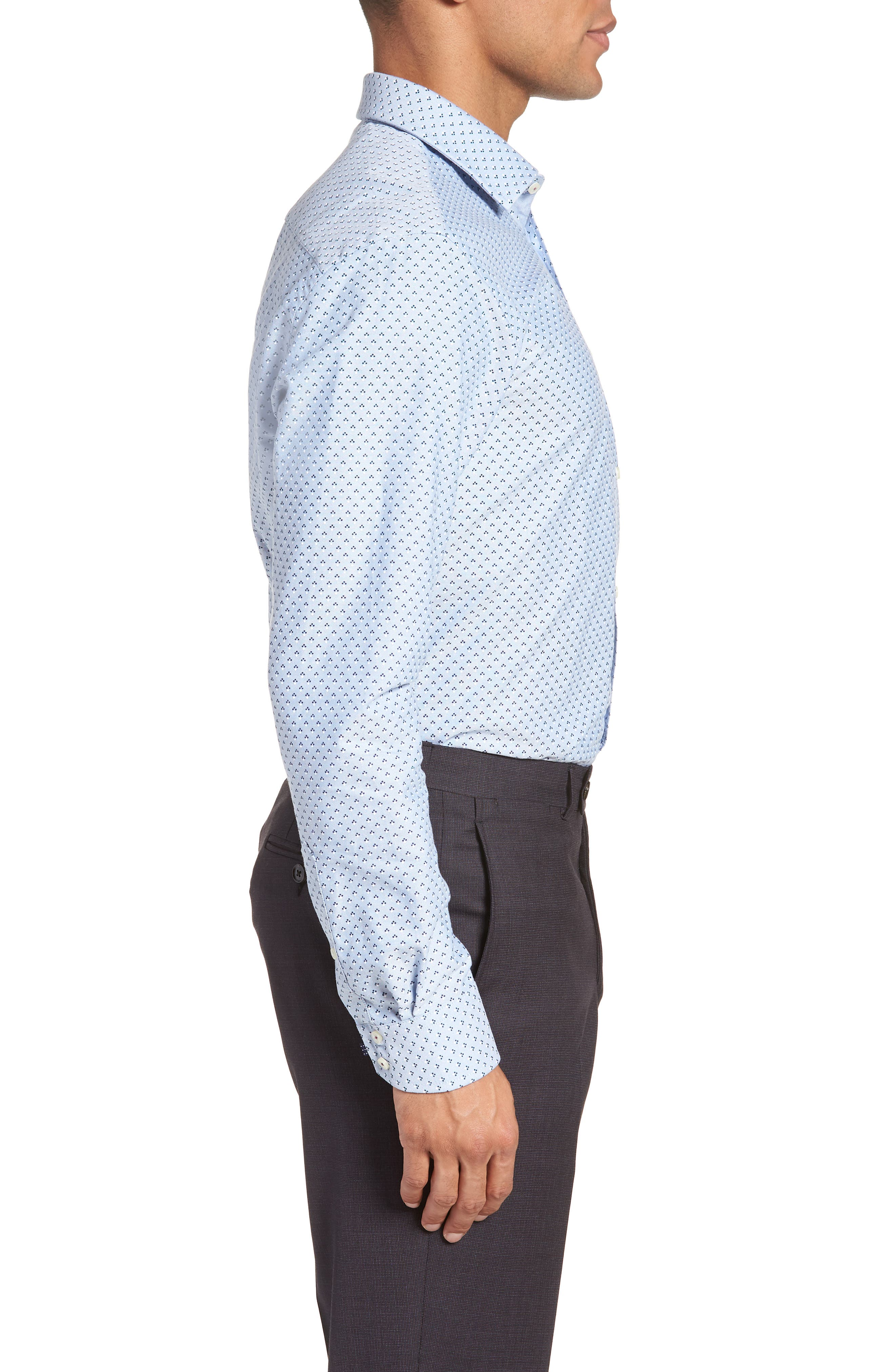 Forestr Trim Fit Geometric Dress Shirt,                             Alternate thumbnail 4, color,                             Blue