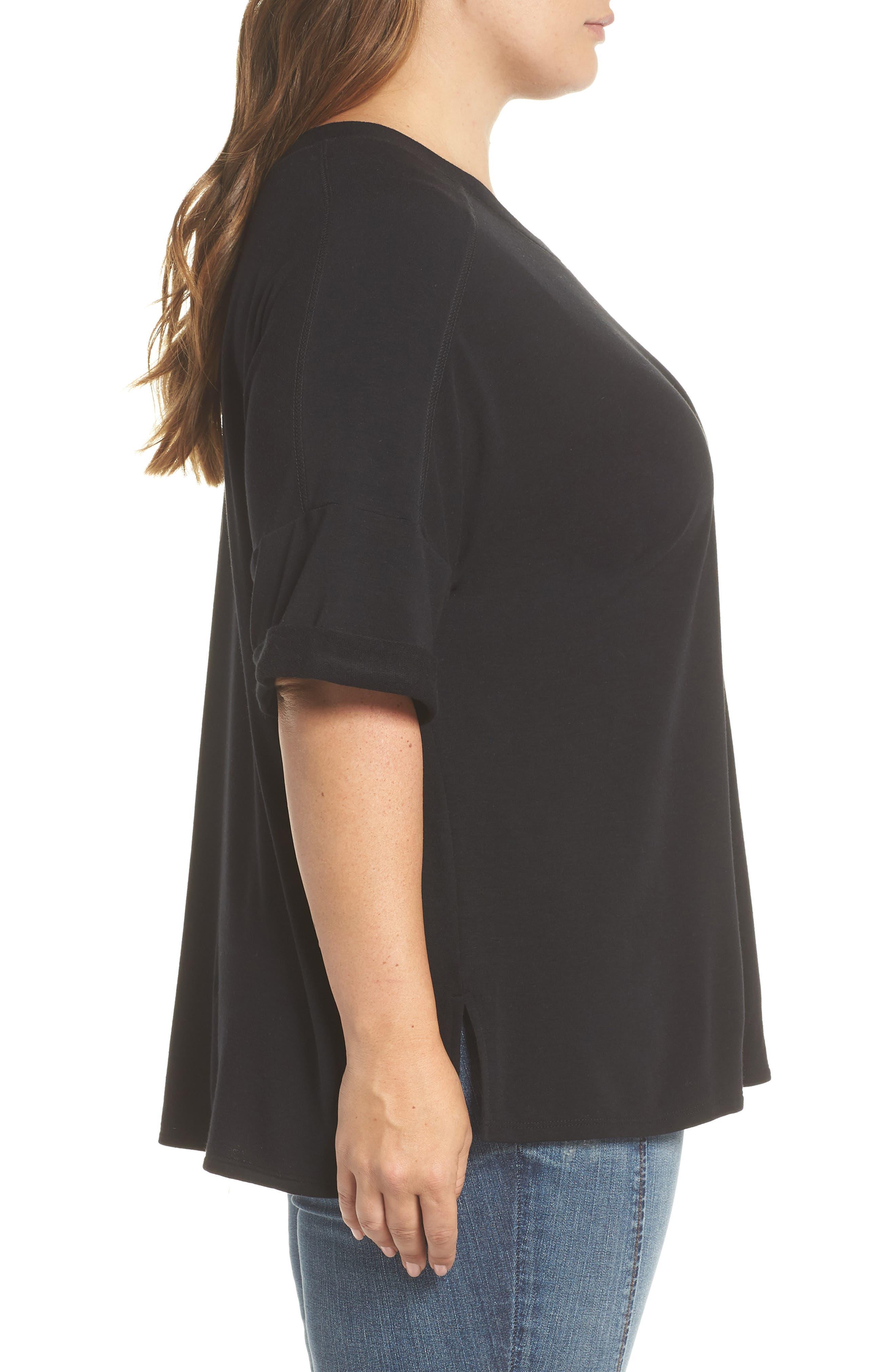 Alternate Image 3  - Caslon® Pocket Fleece Tee (Plus Size)