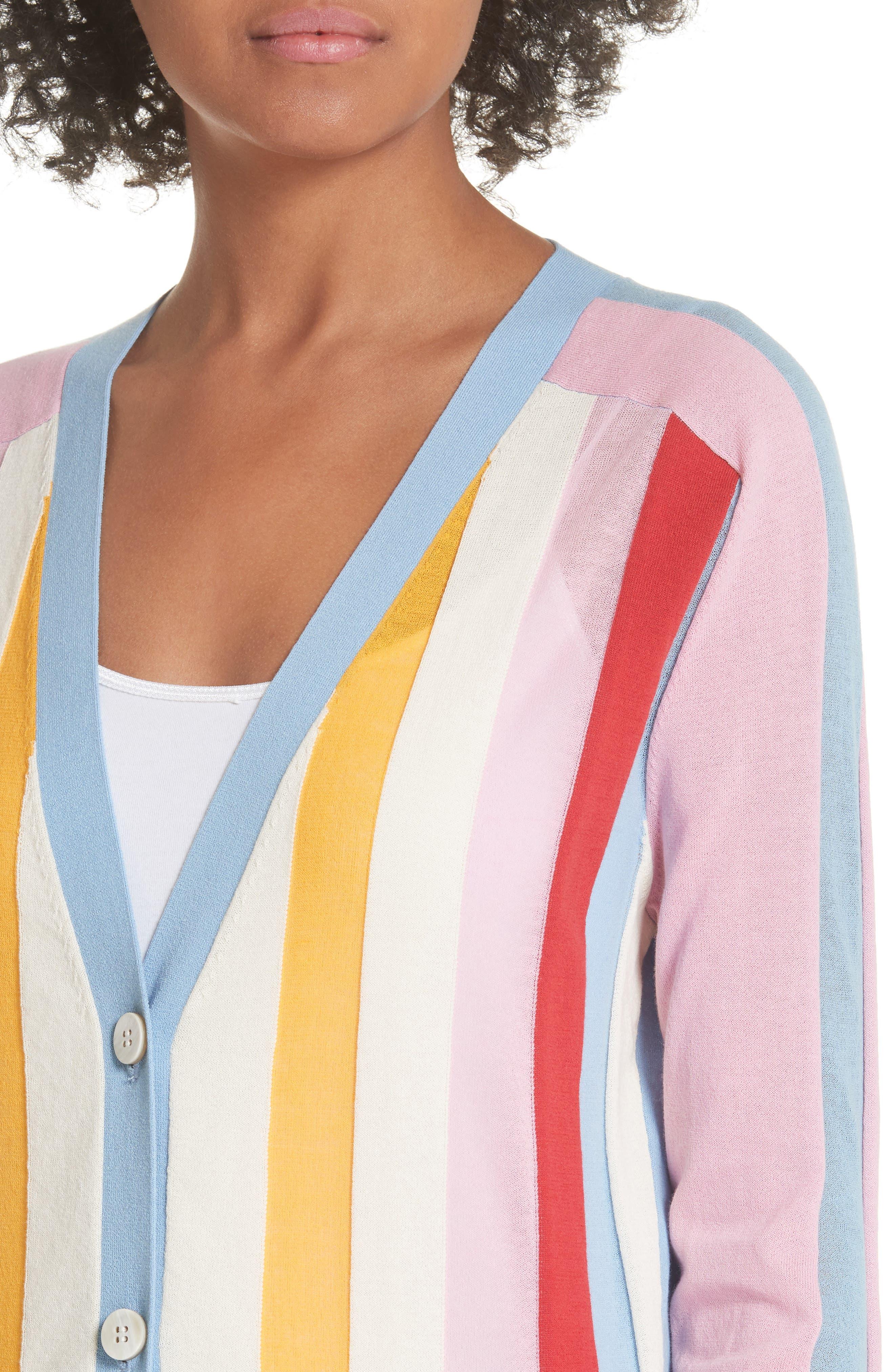Diane von Furstenberg Colorblock Stripe Cardigan,                             Alternate thumbnail 4, color,                             Taffy Multi