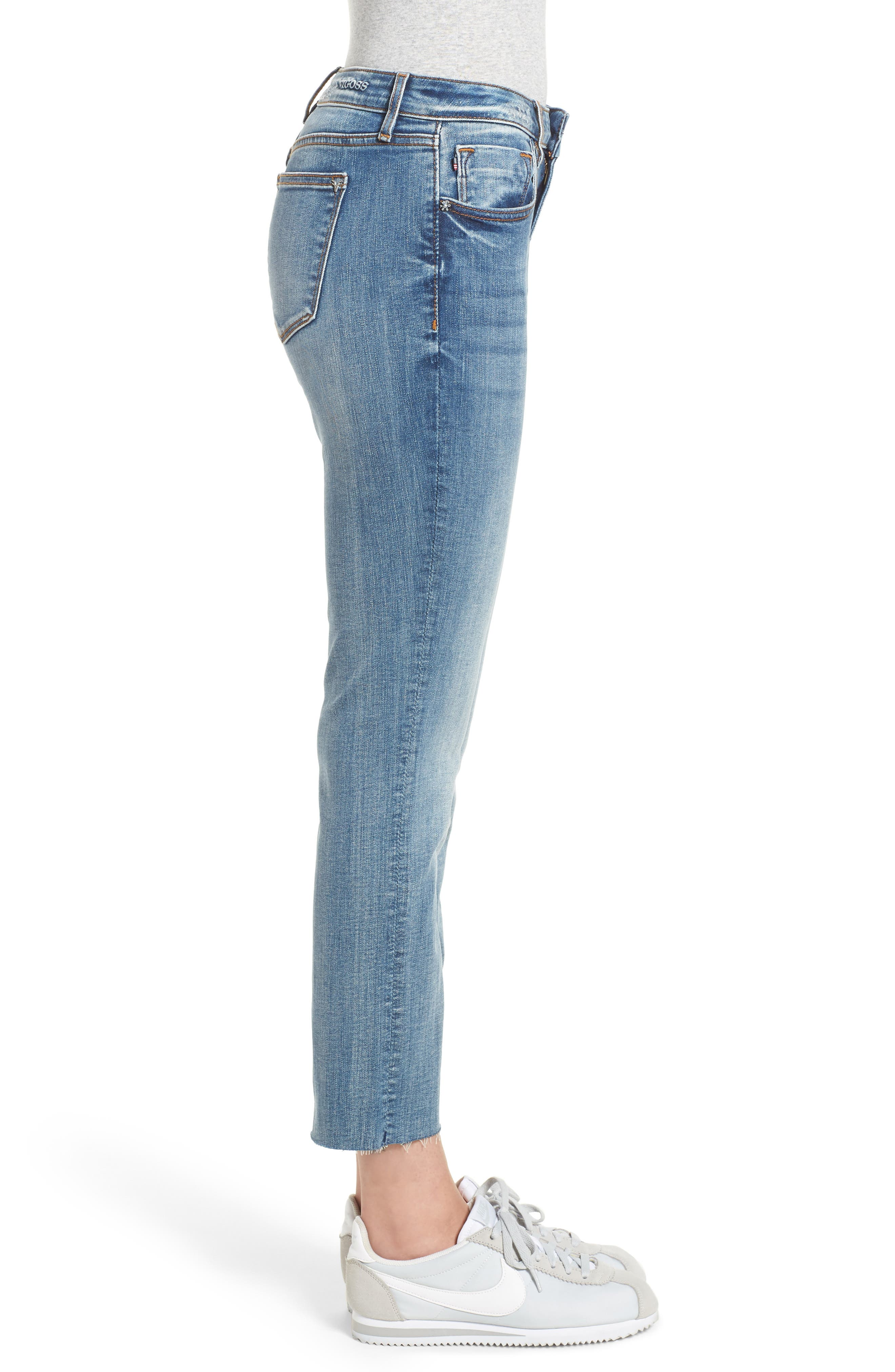 Jagger Crop Straight Leg Jeans,                             Alternate thumbnail 3, color,                             Med Wash