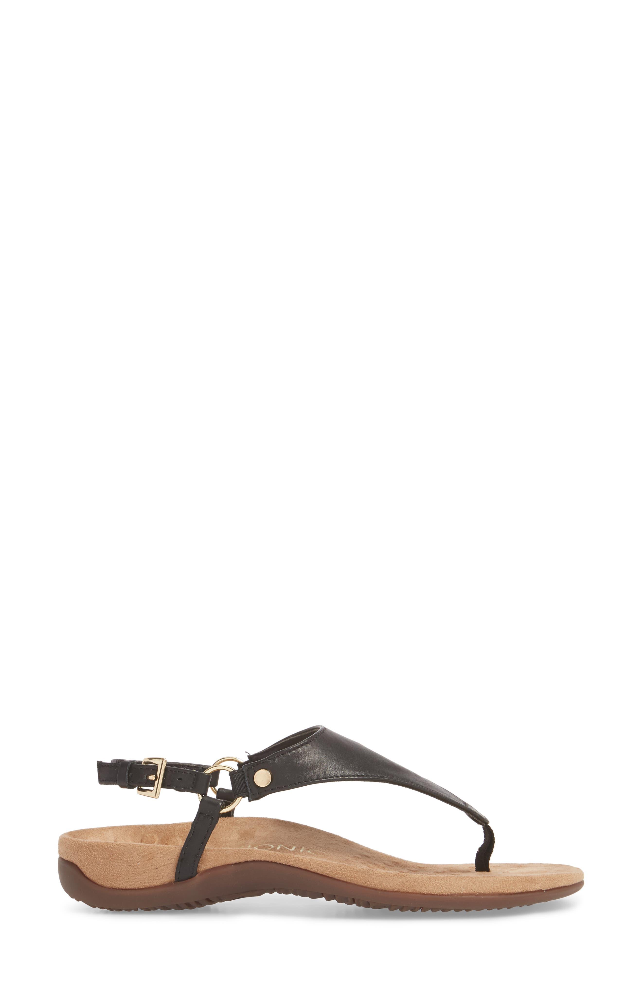Kirra Orthaheel<sup>®</sup> Sandal,                             Alternate thumbnail 3, color,                             Black Leather