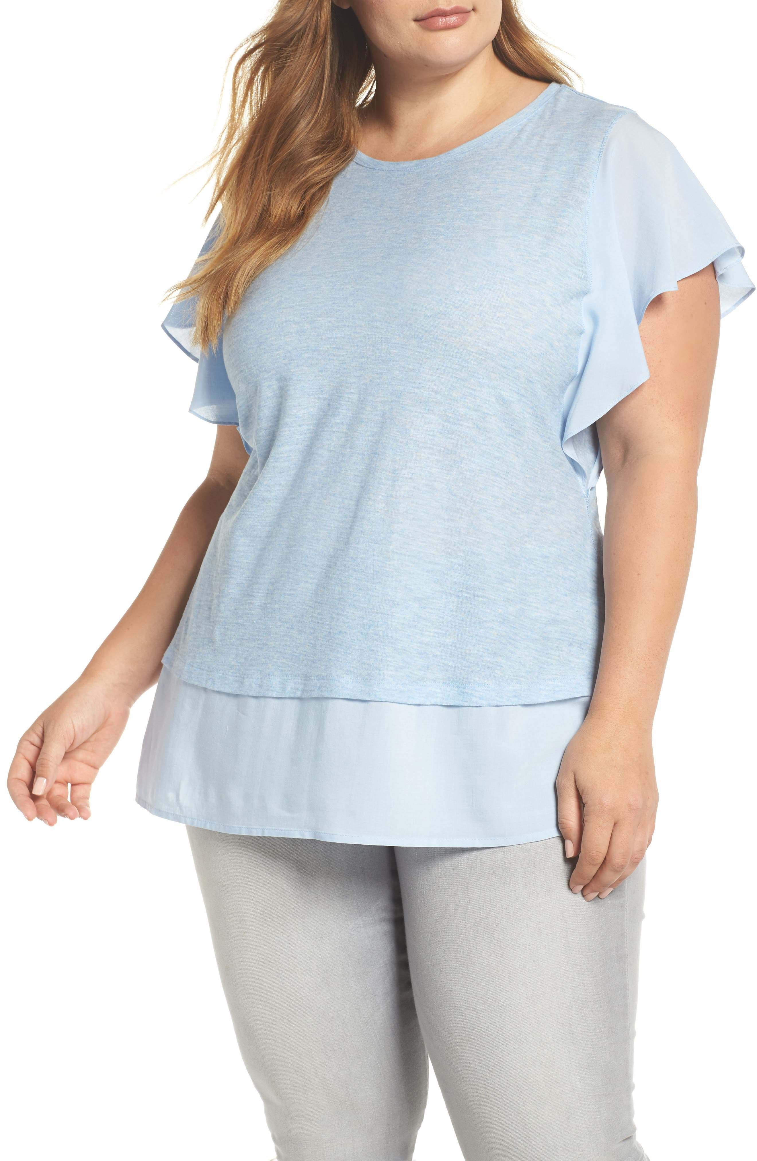 Ruffle Sleeve Mix Media Top,                         Main,                         color, Lt Chambray Heather