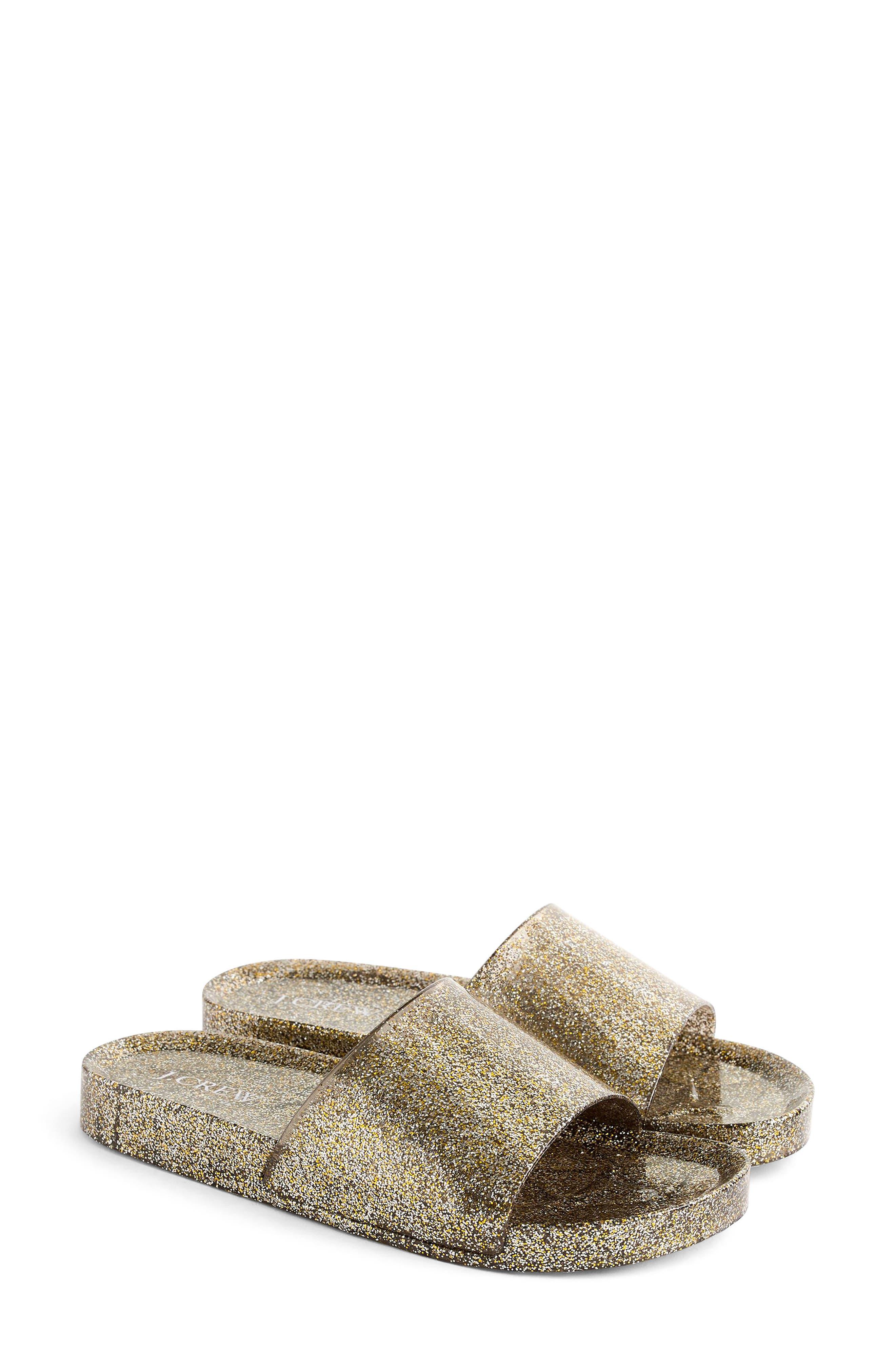 Glitter Slide Sandal,                             Main thumbnail 1, color,                             Grey/ Gold